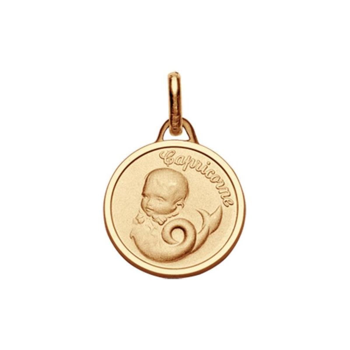 Pendentif Médaille Bébé Zodiaque Capricorne Plaqué Or 750