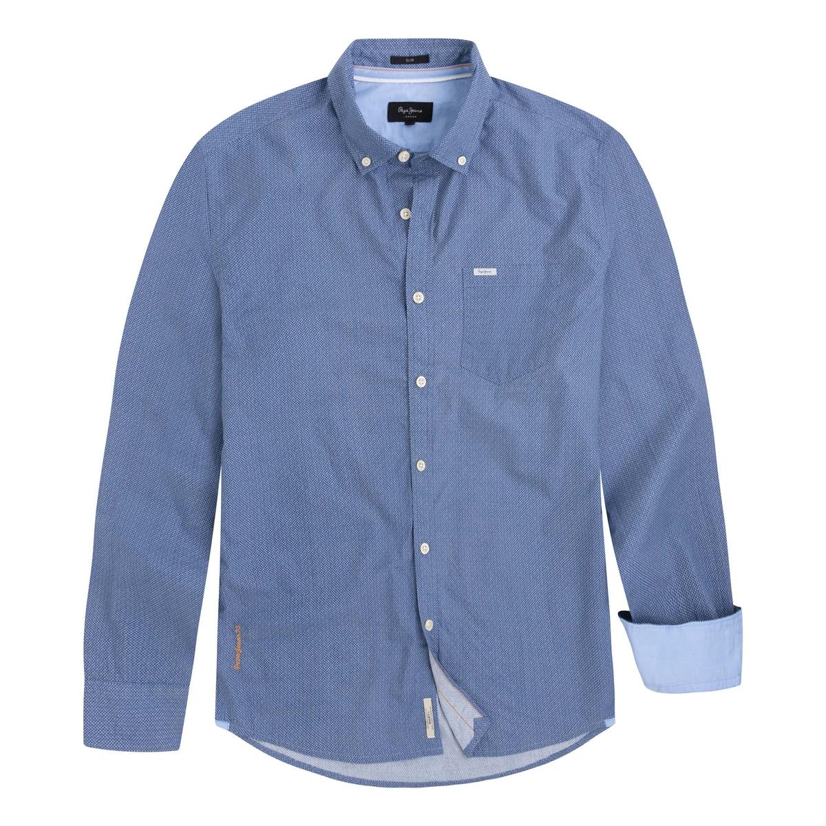 Camisa FAWDRY recta, 100% algodón de manga larga