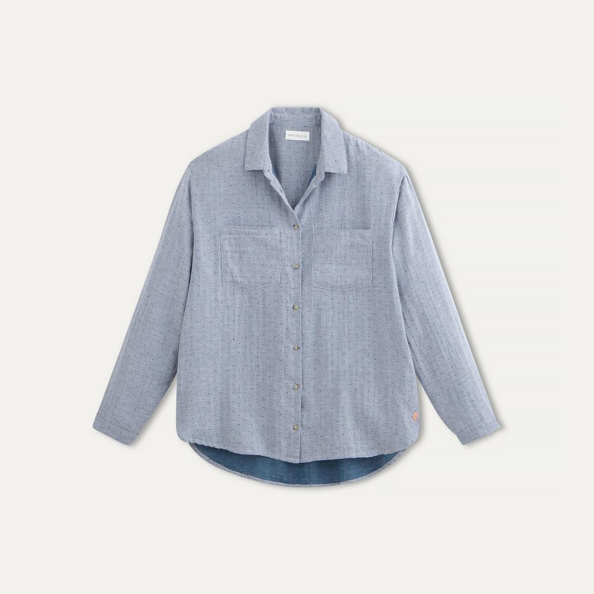 Рубашка в мелкий горошекРубашка HARRIS WILSON - в сплошной мелкий жаккардовый горошек, хлопковый поплин . Рубашечный воротник со свободными уголками. Застежка на пуговицы. Длинные рукава, манжеты с застежкой на пуговицу. Закругленный низ с более длинной спинкой, шлицы по бокам . 2 нагрудных кармана. Подкладка с рисунком.   Состав и описание    Материал : 100% хлопок   Марка : HARRIS WILSON<br><br>Цвет: синий<br>Размер: L