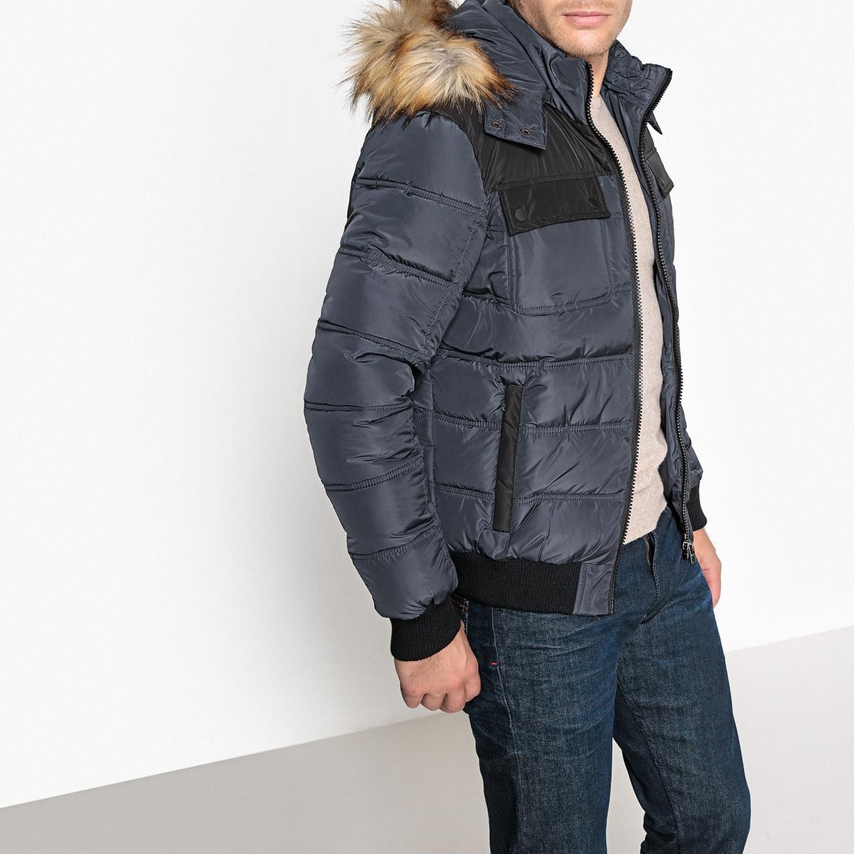 Куртка стеганая с капюшономОписание:Детали •  Длина : укороченная   •  Воротник-стойка •  Застежка на молнию •  С капюшоном Состав и уход •  100% полиэстер  •  Следуйте советам по уходу, указанным на этикетке<br><br>Цвет: серый,черный<br>Размер: M.XL