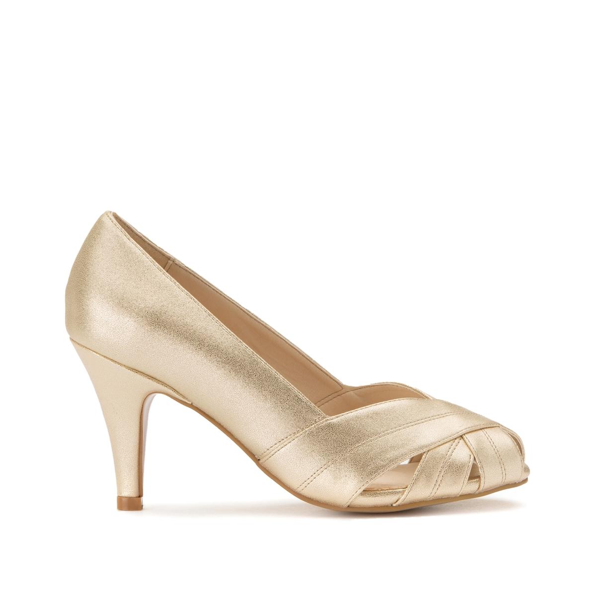 Туфли La Redoute Кожаные с открытым мыском 45 золотистый туфли la redoute кожаные с открытым мыском и деталями золотистого цвета 41 черный