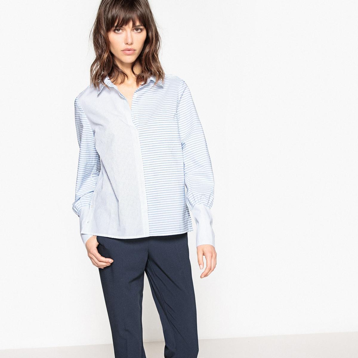Блузка в полоску с широкими манжетами