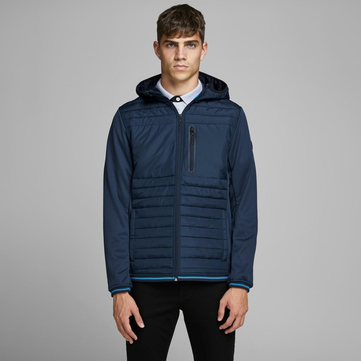 Куртка LaRedoute Стеганая тонкая с капюшоном Jcotripple S синий куртка la redoute стеганая на молнии с капюшоном idaho 2 3xl синий