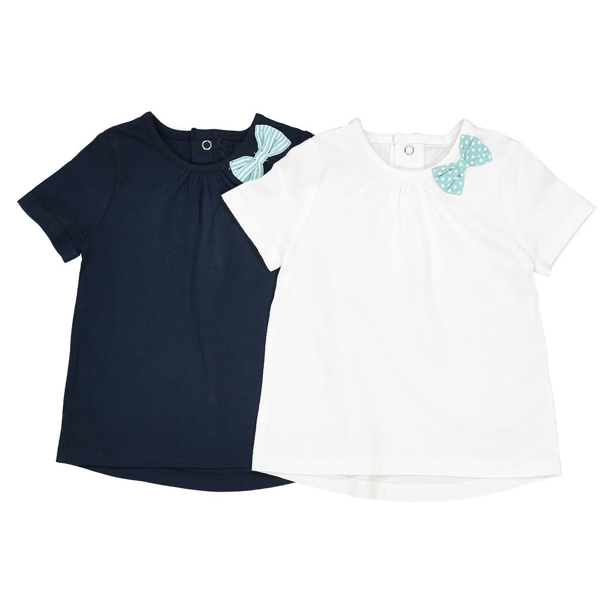 Комплект из 2 футболок с бантом сбоку, 1 мес. - 3 годаОписание:Детали •  Короткие рукава •  Круглый вырезСостав и уход •  100% хлопок •  Температура стирки 30° •  Гладить при низкой температуре / не отбеливать • Барабанная сушка на слабом режиме       •  Сухая чистка запрещена<br><br>Цвет: темно-синий + белый