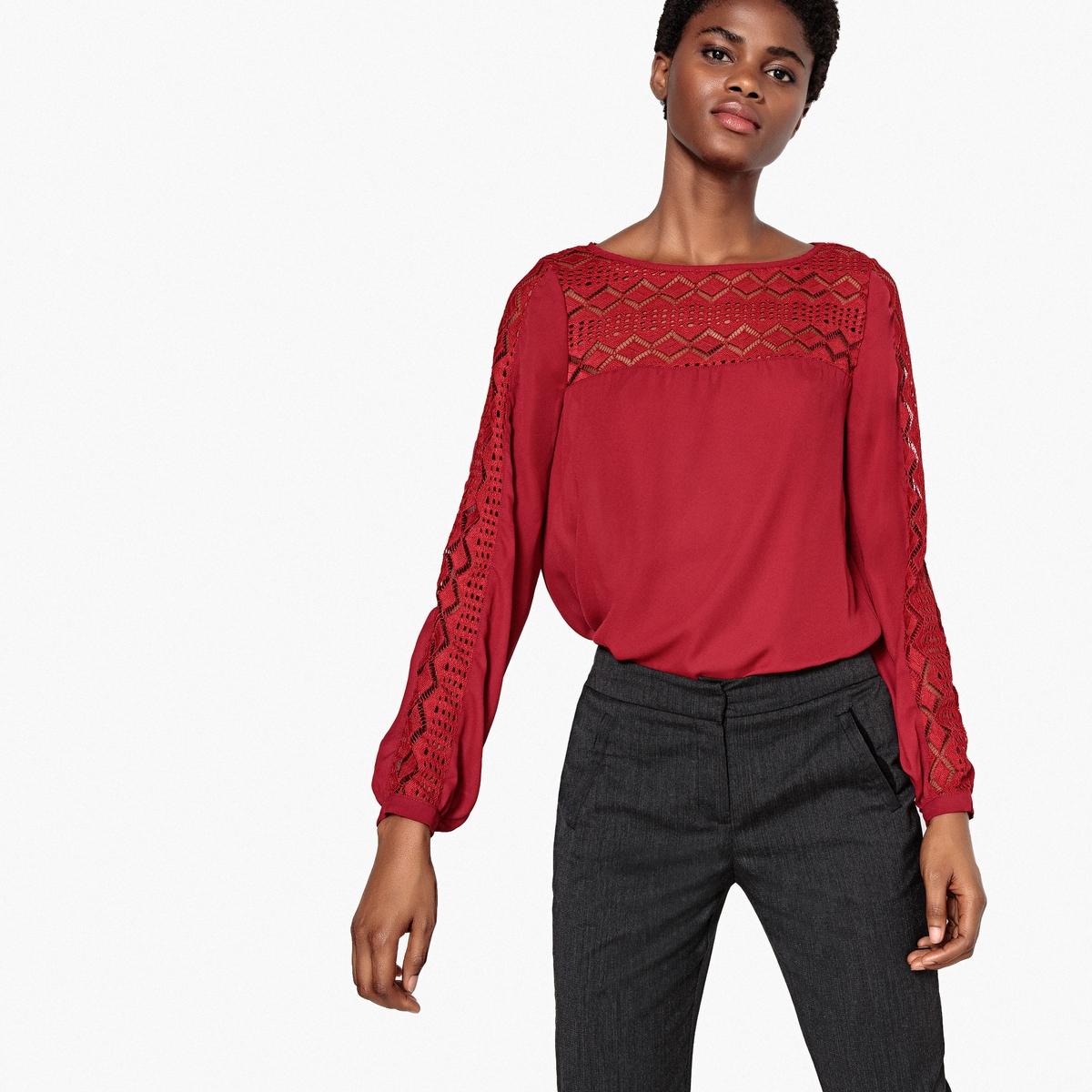Blusa de dos tejidos, encaje en escote y mangas