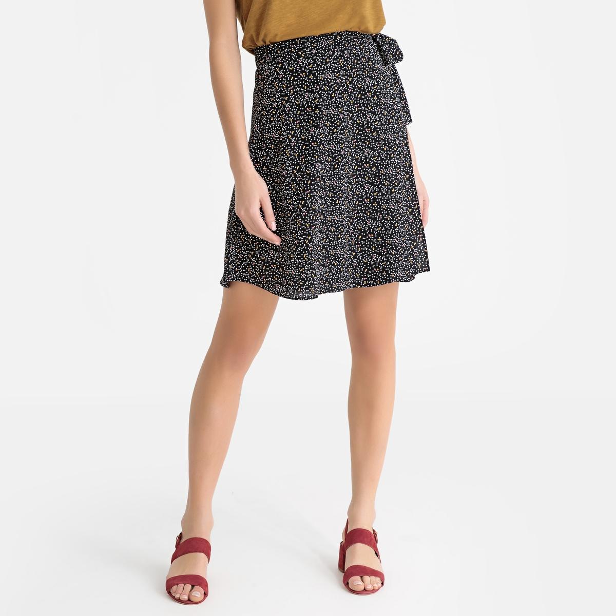 Юбка La Redoute Короткая с рисунком CLEM TIPOIS XS черный юбка с запахом на пуговицах
