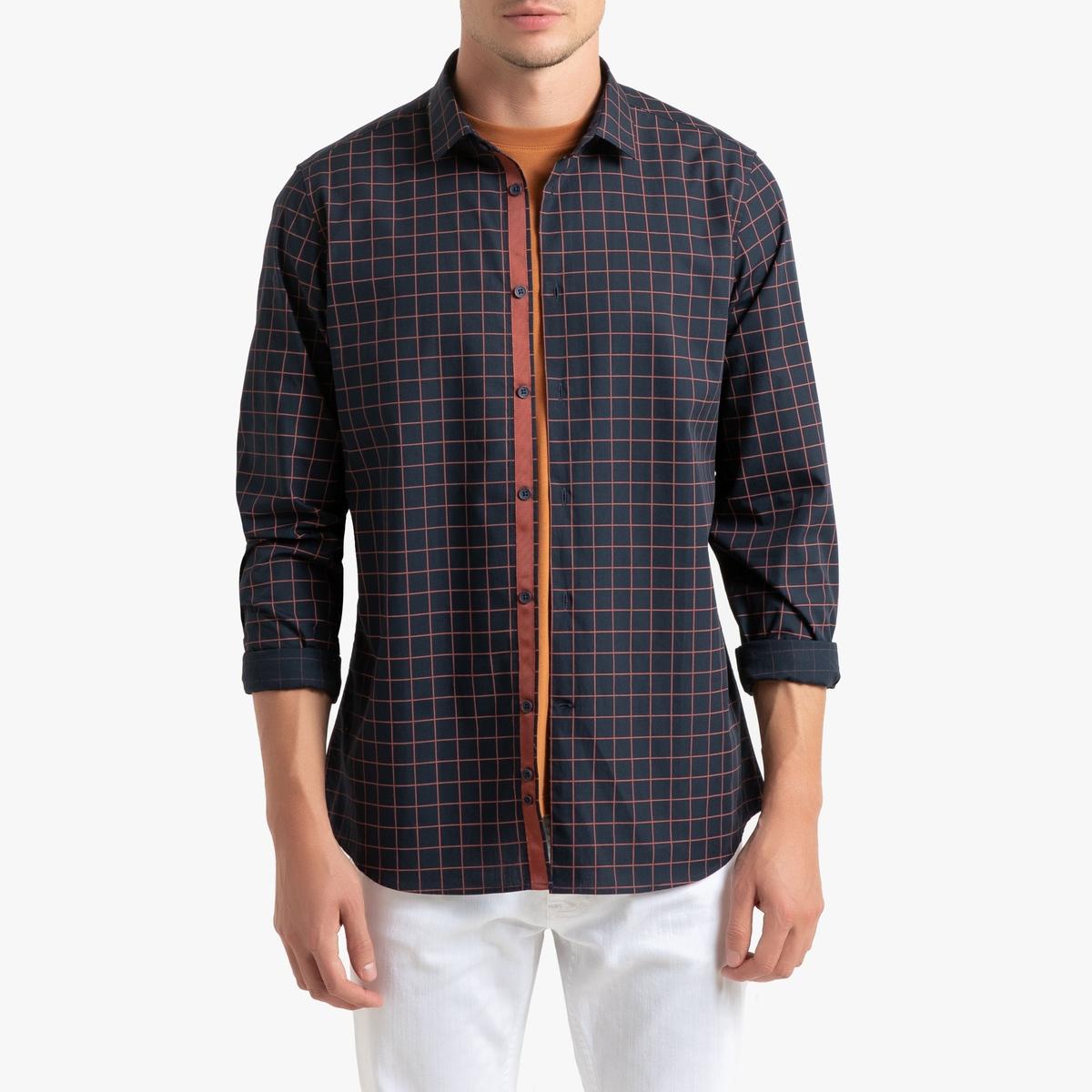 Рубашка La Redoute Прямого покроя с рисунком в клетку и длинными рукавами 45/46 синий рубашка la redoute прямого покроя в клетку с длинными рукавами 45 46 серый