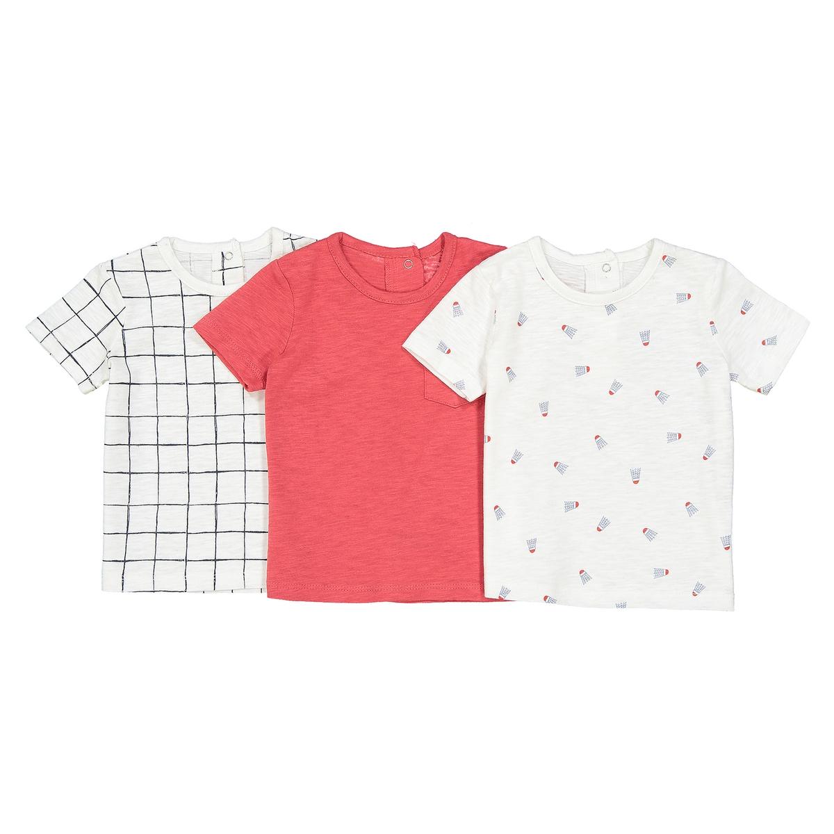 Комплект из 3 футболок с короткими рукавами - 1 мес. - 3 годаОписание:Детали •  Короткие рукава •  Круглый вырезСостав и уход •  100% хлопок •  Стирать при 40° •  Сухая чистка и отбеливатели запрещены • Барабанная сушка на слабом режиме       • Средняя температура глажки<br><br>Цвет: белый + красный