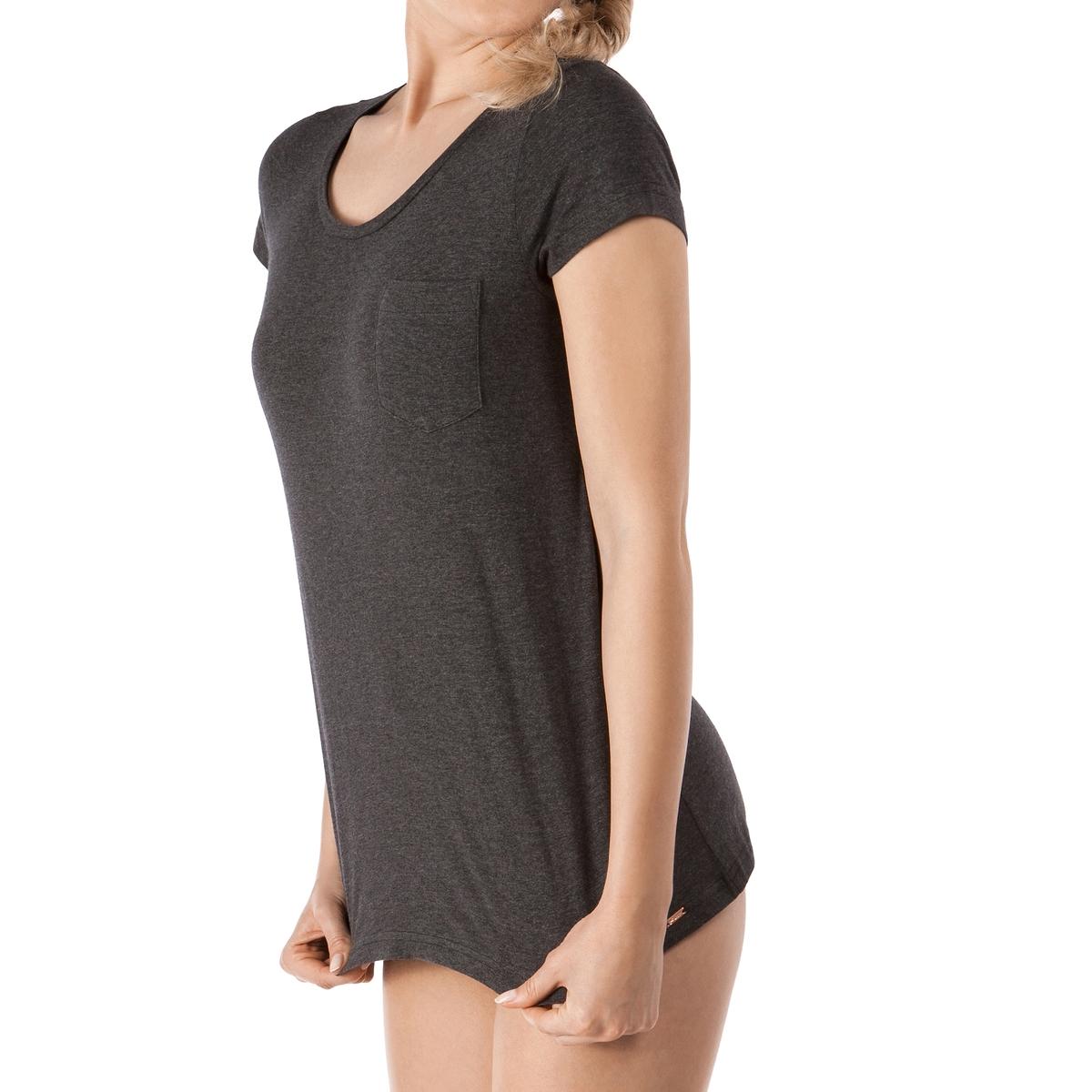 Футболка из хлопка, Sleep DreamФутболка с длинными рукавами Sleep Dream от Skinny. Строгая футболка с безупречной отделкой, в которой будет комфортно спать. V-образный вырез и небольшой карман сбоку на уровне груди . Состав и детали :Материал : 100% хлопка Подкладка : -   Марка : SKINNY Уход :Машинная стирка при 30°.Машинная сушка запрещена.Не гладить.<br><br>Цвет: темно-серый