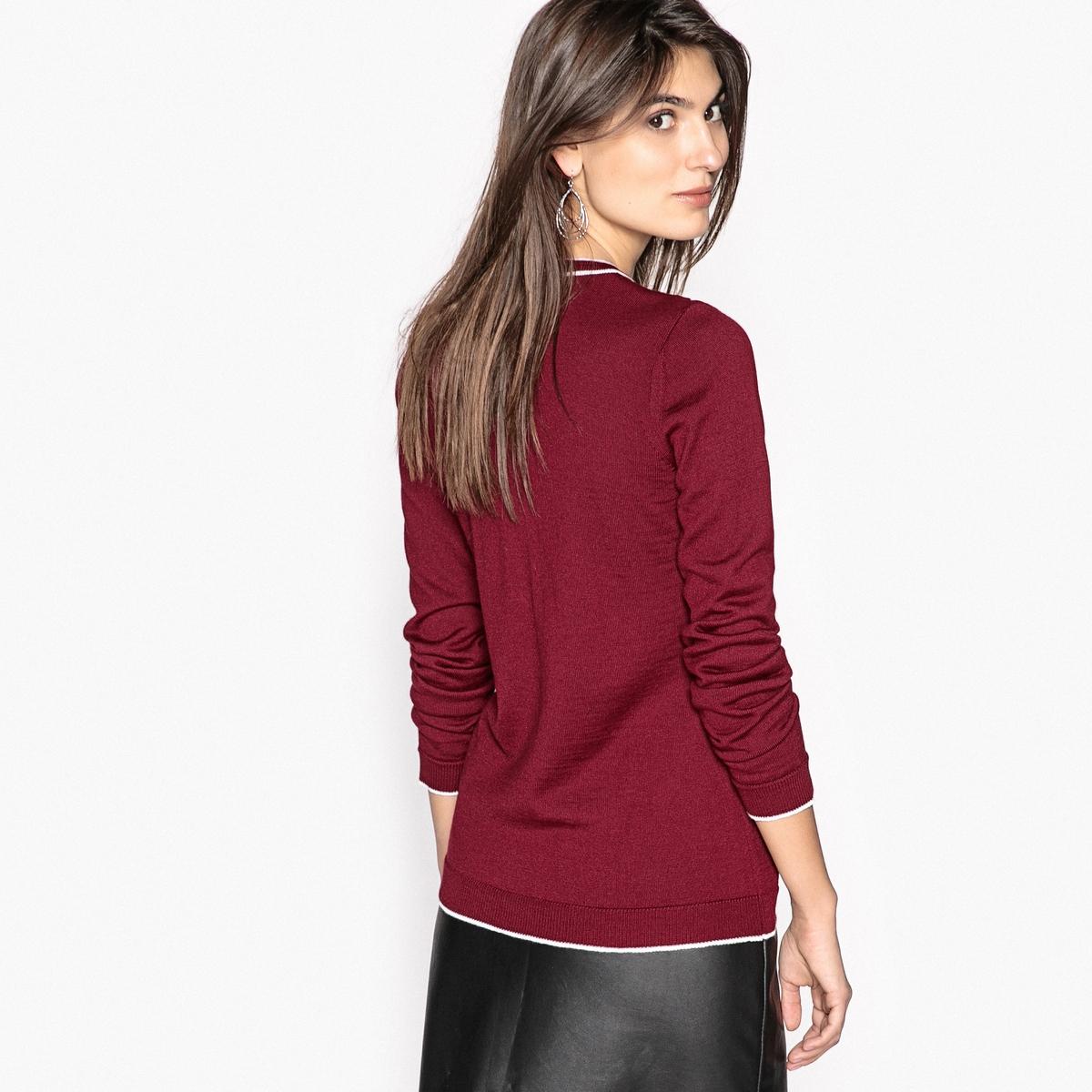 Sweter rozpinany z okrągłym dekoltem, 50% wełny Merynos
