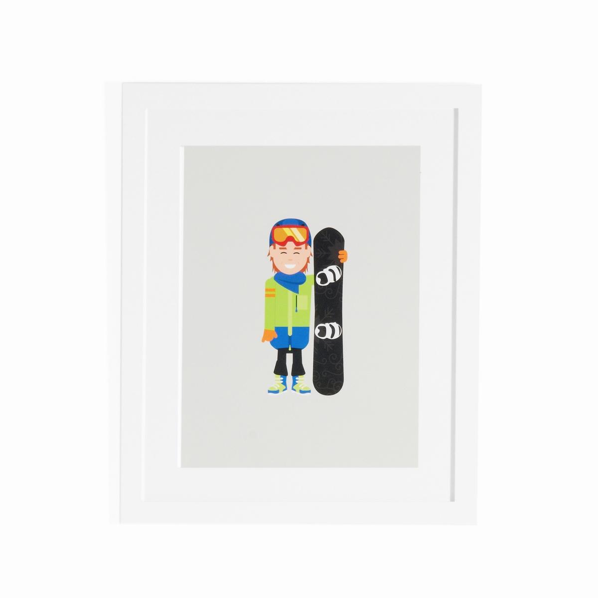 Плакат в рамке сноубордист, CoriamaiПлакат в рамке Coriamai . Изображение Дети, занимающиеся спортом  ! 6 плакатов со стилизованным персонажем для декорирования комнаты в современном и веселом стиле (другие модели продаются на нашем сайте)  .Характеристики : - Плакат из офсетной бумаги 170г/м2 с навесом - Рамка из ДСП - Стекло из плексигласа - Крючок для крепления на стену (саморезы и дюбели не входят в комплект)  Размеры : - L40 x H50 см<br><br>Цвет: разноцветный<br>Размер: единый размер