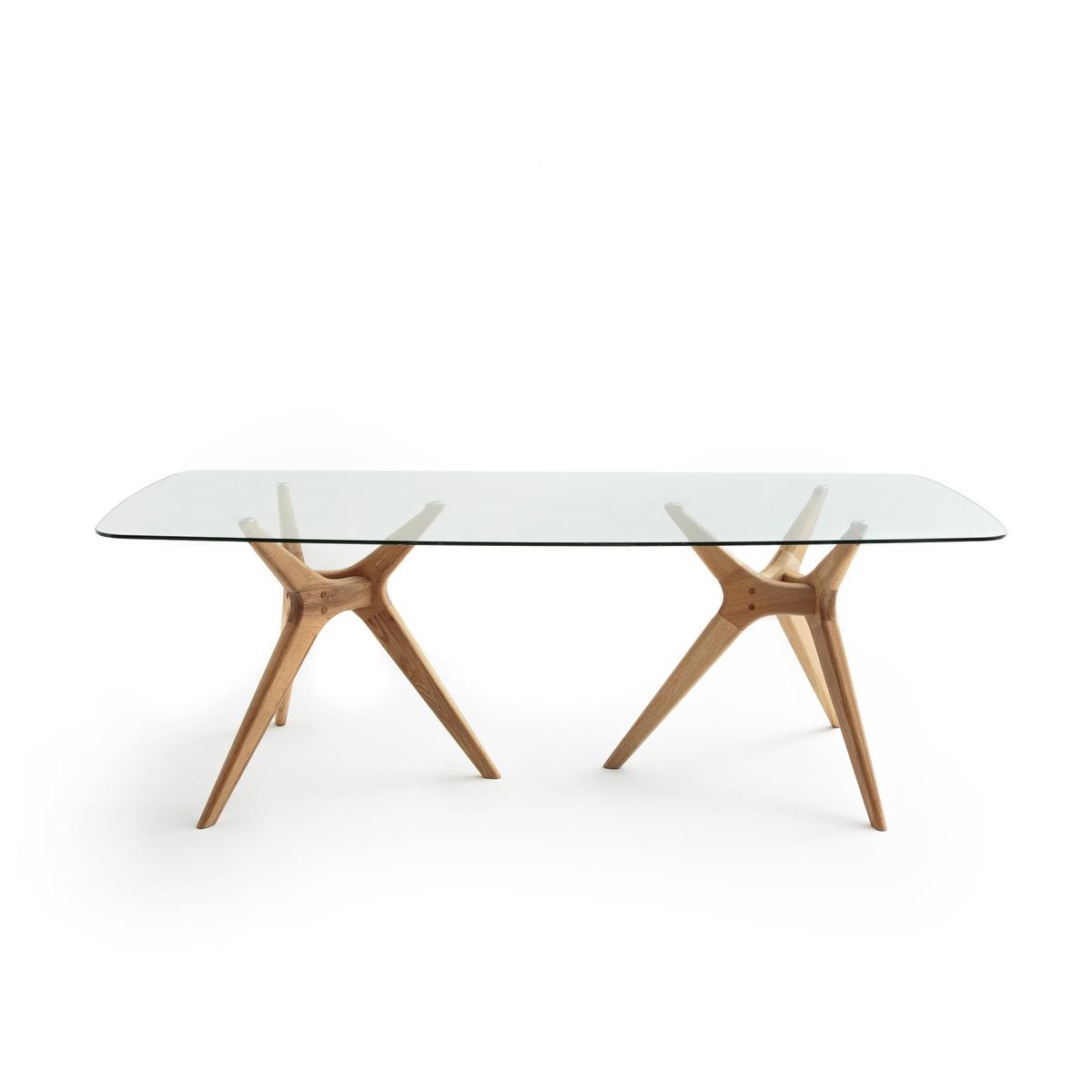 Стол прямоугольный из стекла и дуба, Maricielo