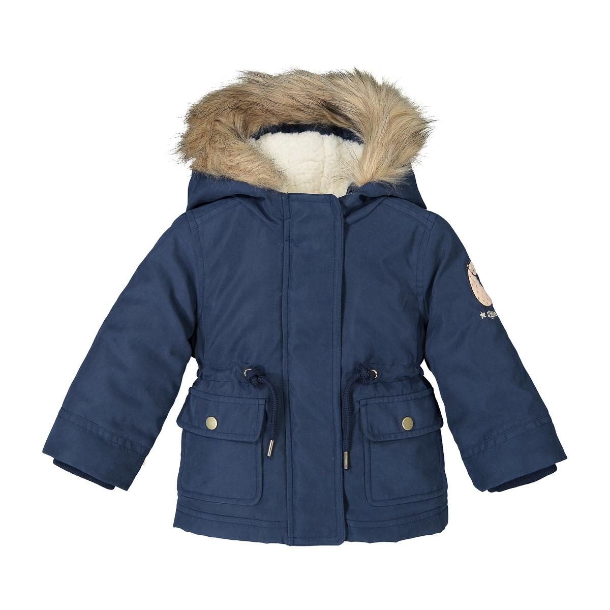 Парка La Redoute С капюшоном на теплой подкладке мес- года 3 мес. - 60 см синий куртка la redoute в горошек на подкладке из флиса мес года 1 мес 54 см синий