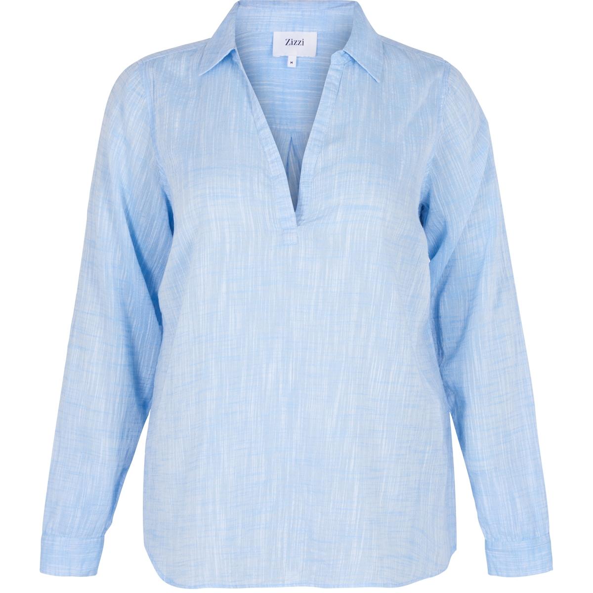Блузка однотонная с V-образным вырезом и длинными рукавами