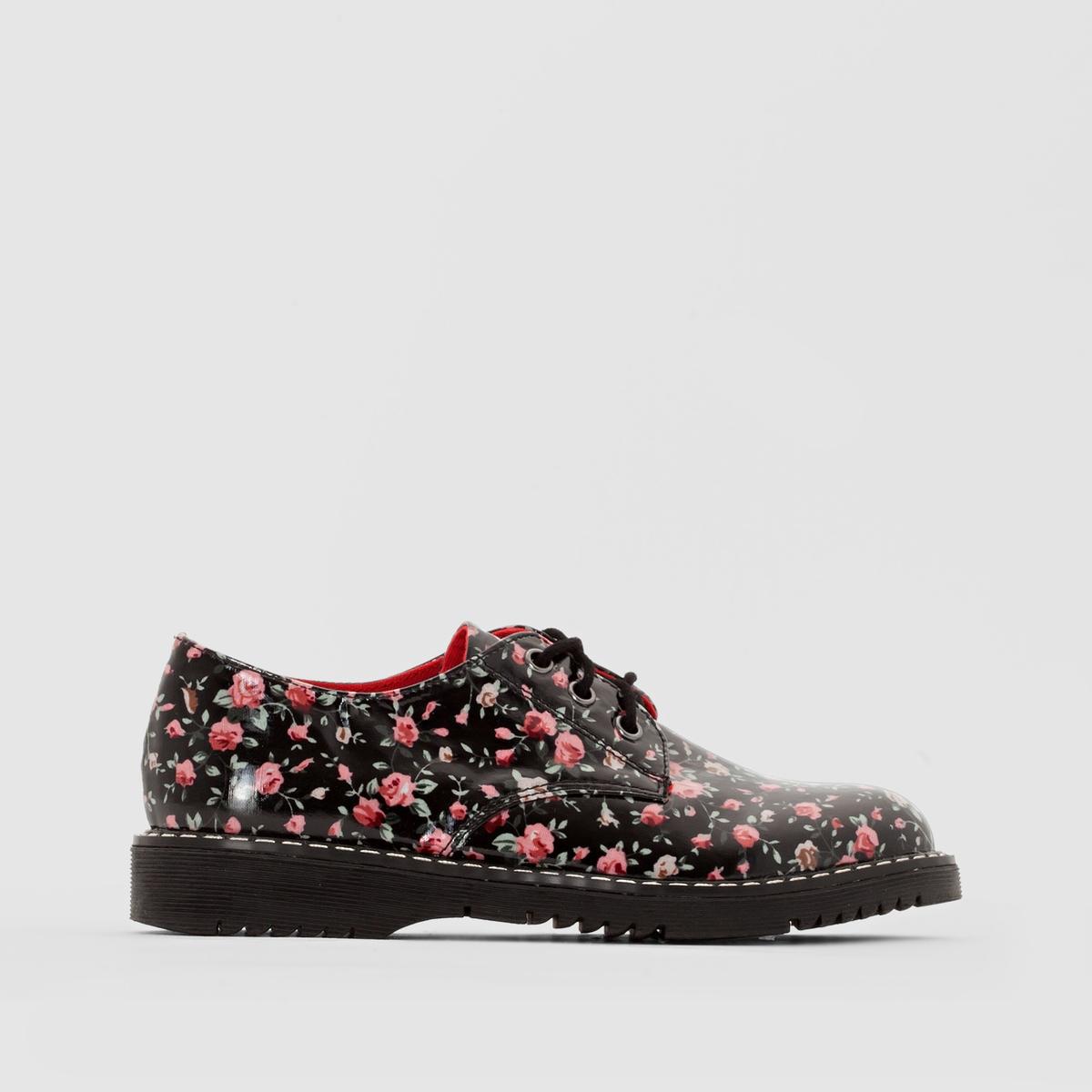 Ботинки-дерби лакированные с цветочным рисунком от La Redoute