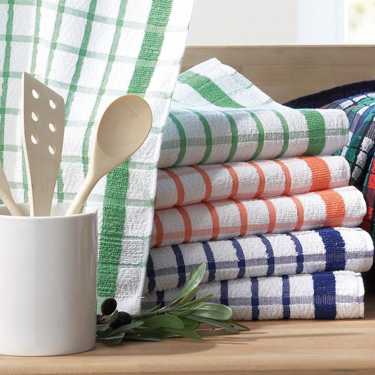 Комплект полотенец кухонныхХарактеристики:- Впитывающие полотенца, 100% хлопка. - В клетку.Стирка при 60°.- Размеры: 50 x 80 см.6 или 12 штук в комплекте.!<br><br>Цвет: зеленый + оранжевый + синий<br>Размер: комплект из 6.комплект из 12