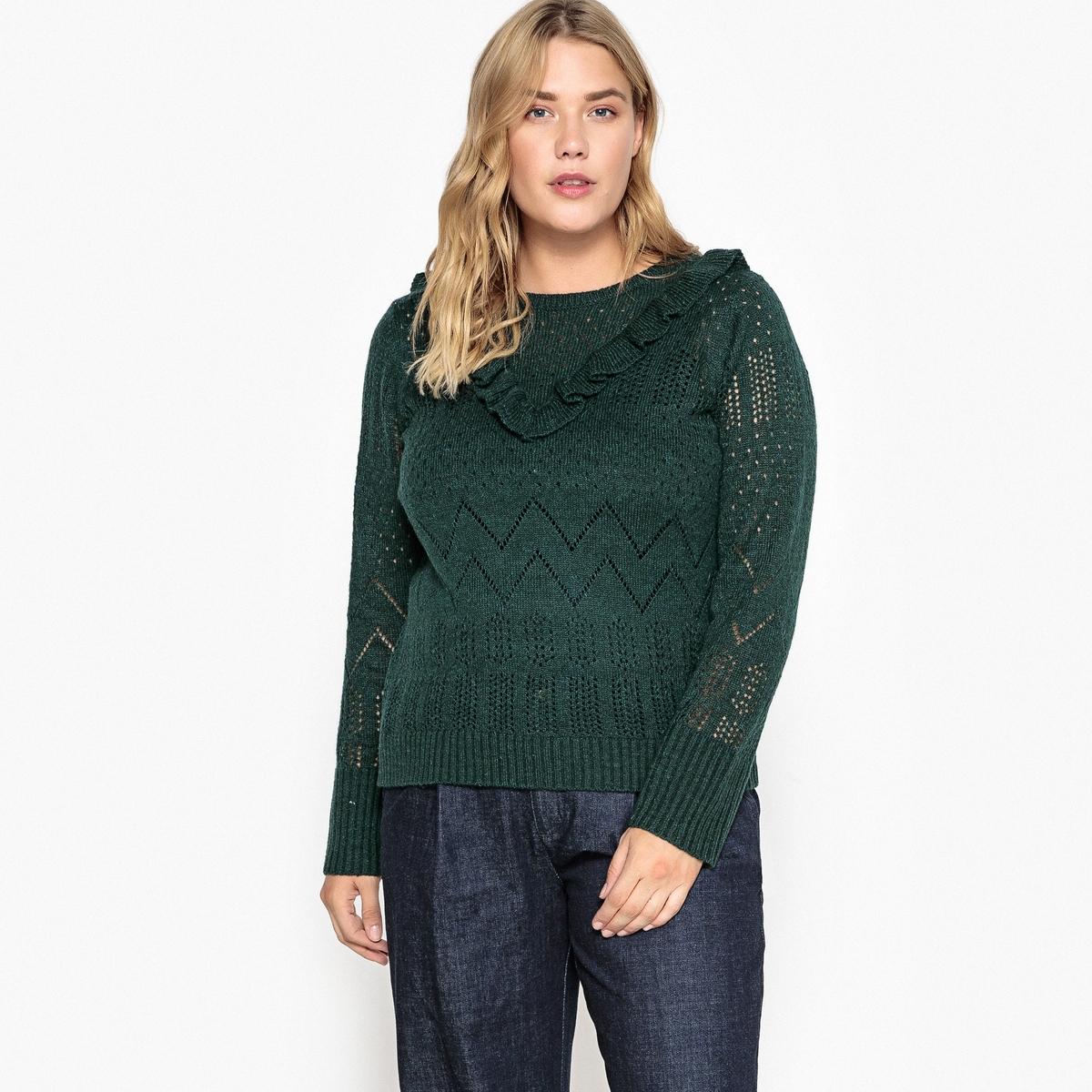 Пуловер La Redoute С вырезом круглым хлопок 58/60 (FR) - 64/66 (RUS) зеленый