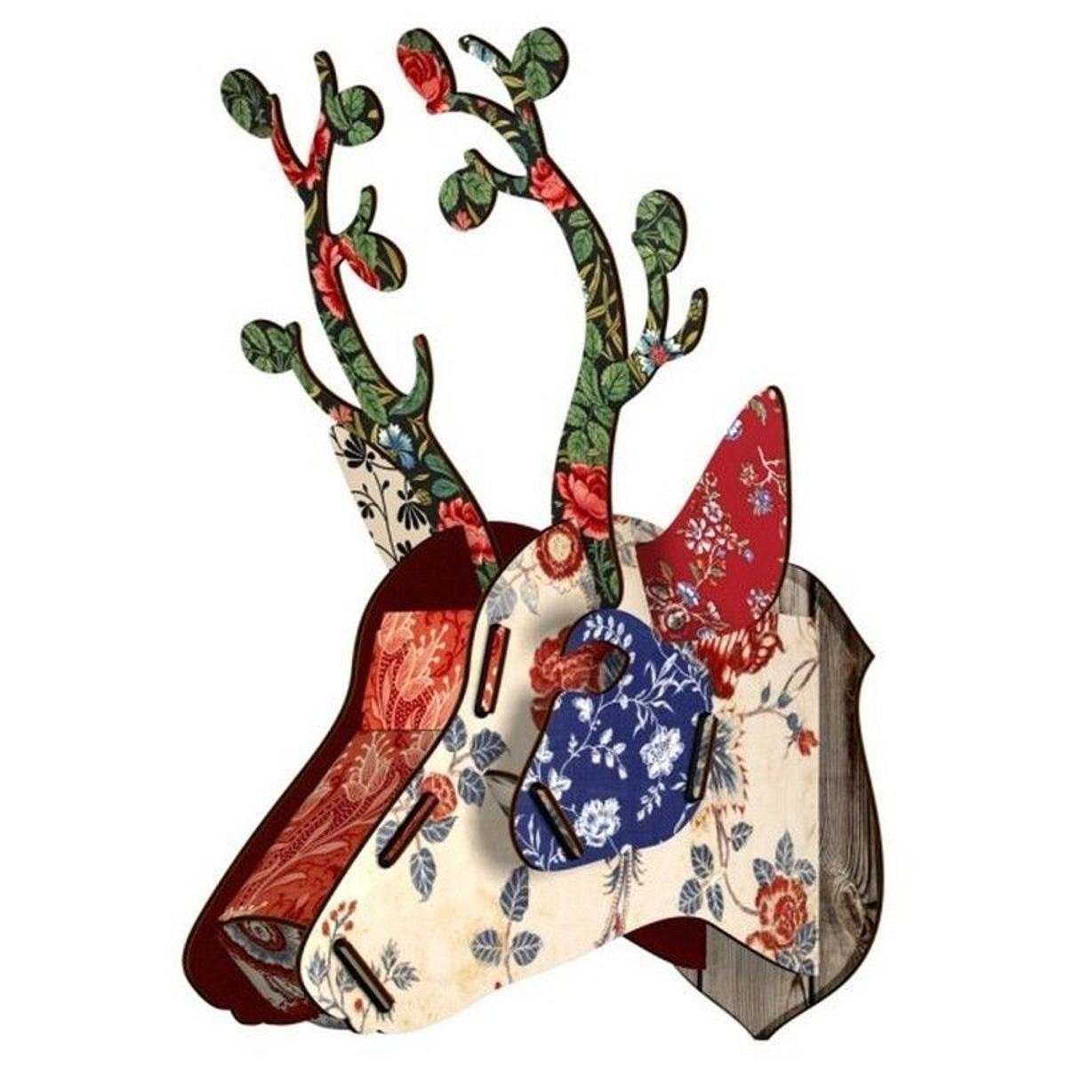 Tête de cerf décoration murale bois  Bunches