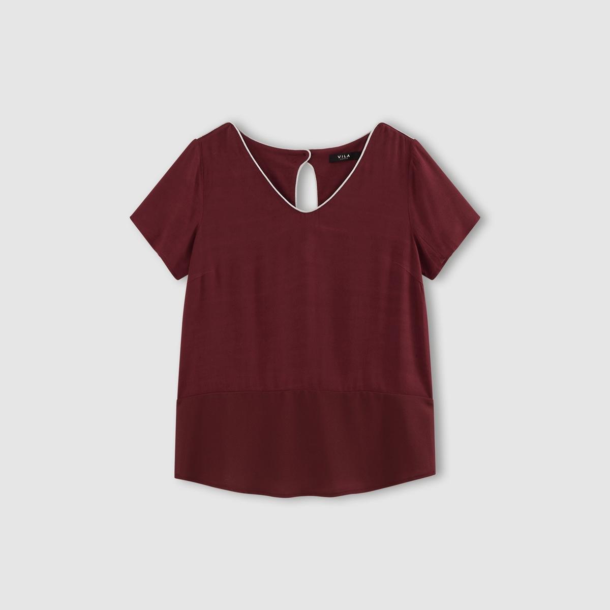 Блузка с короткими рукавами, VIVENTAСостав и описаниеМарка : VILA.Модель : VIVENTA Материал : 100% вискозы<br><br>Цвет: бордовый