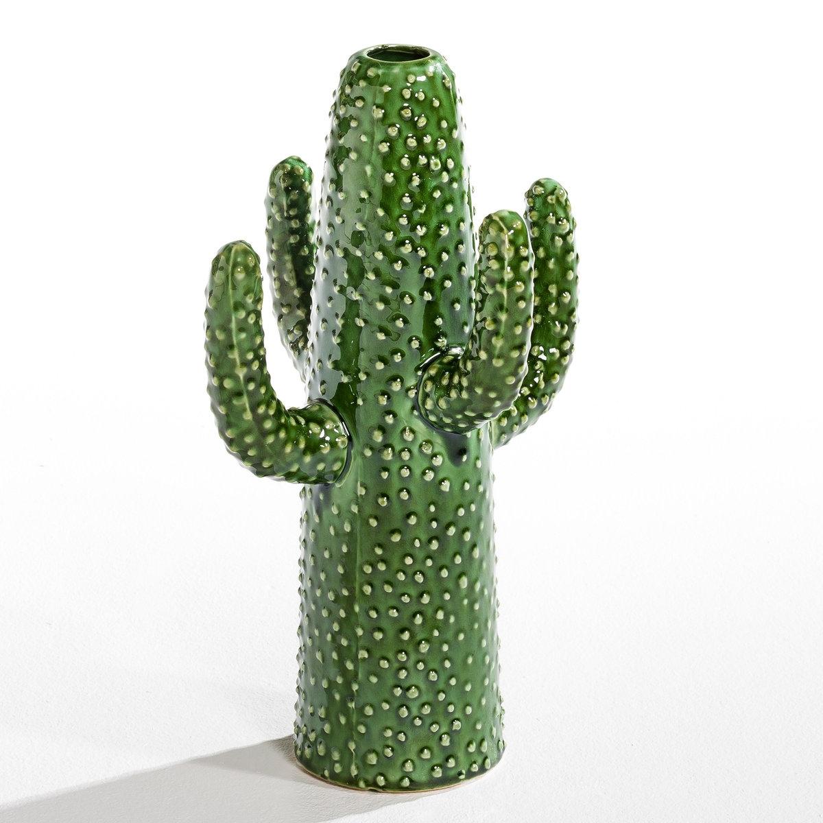 Вазы Cactus дизайн Марии МихельсенРабота Марии Михельсен . 3 вазы разного размера в форме кактуса . Керамика. - Размер 1 : Д.20 x Г.7,5 x В.20 см (малый кактус с 2 ручками). - Размер 2 : Д.19 x Г.17 x В.29 см (малый кактус с 4 ручками). - Размер 3 : Д.24 x Г.23 x В.40 см (большой кактус с 4 ручками).<br><br>Цвет: зеленый<br>Размер: 3