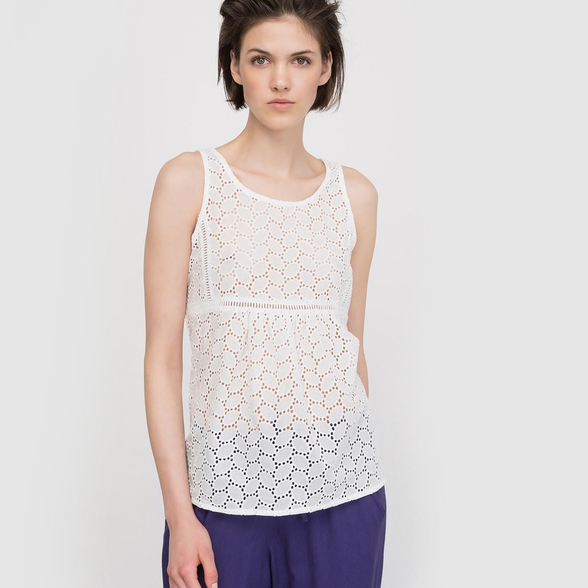 Блузка без рукавов с английской вышивкой