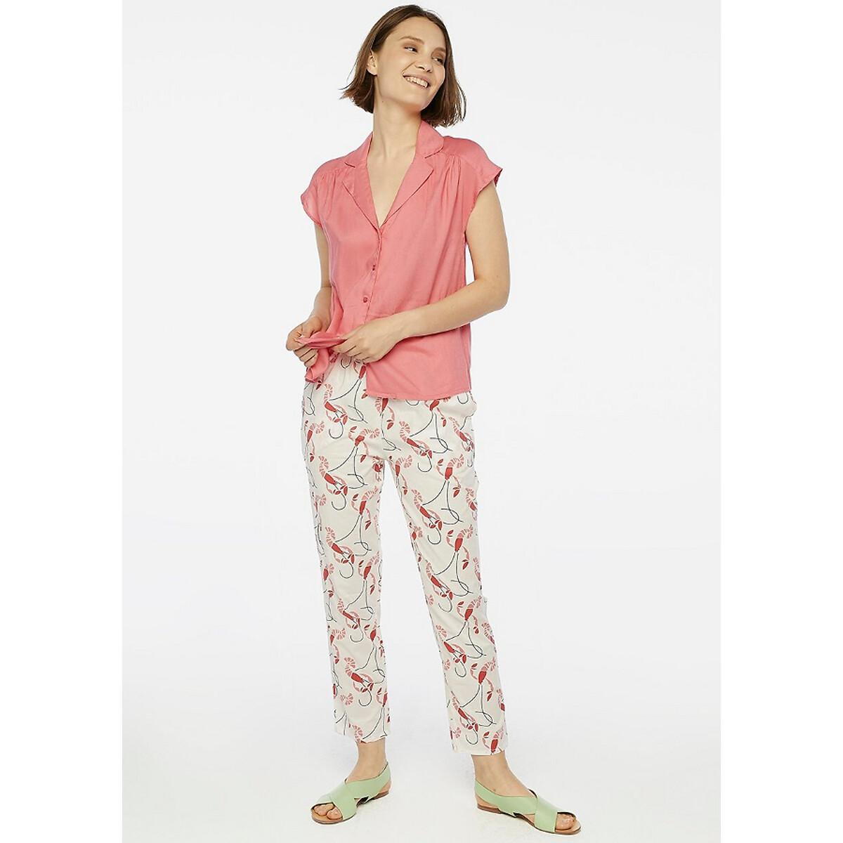 Рубашка La Redoute С V-образным вырезом с отворотами и сборками L розовый la redoute la redoute l розовый