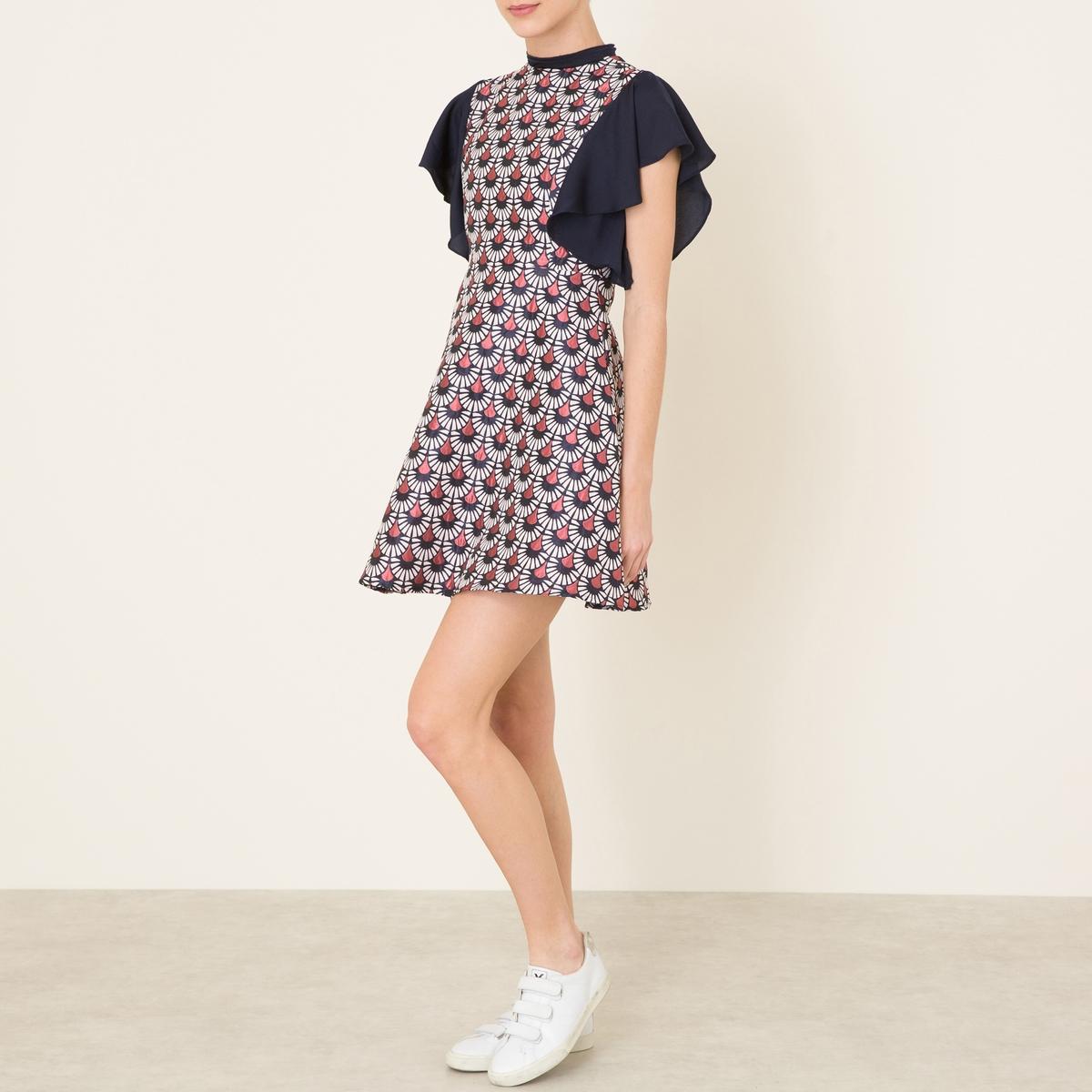Платье из двух материаловСостав и описание    Материал : 78% полиэстера, 22% хлопкаВуаль: 97% полиэстера, 3% эластанаПодкладка 100% полиэстер   Длина : ок. 83 см. для размера 36   Марка : SISTER JANE<br><br>Цвет: разноцветный