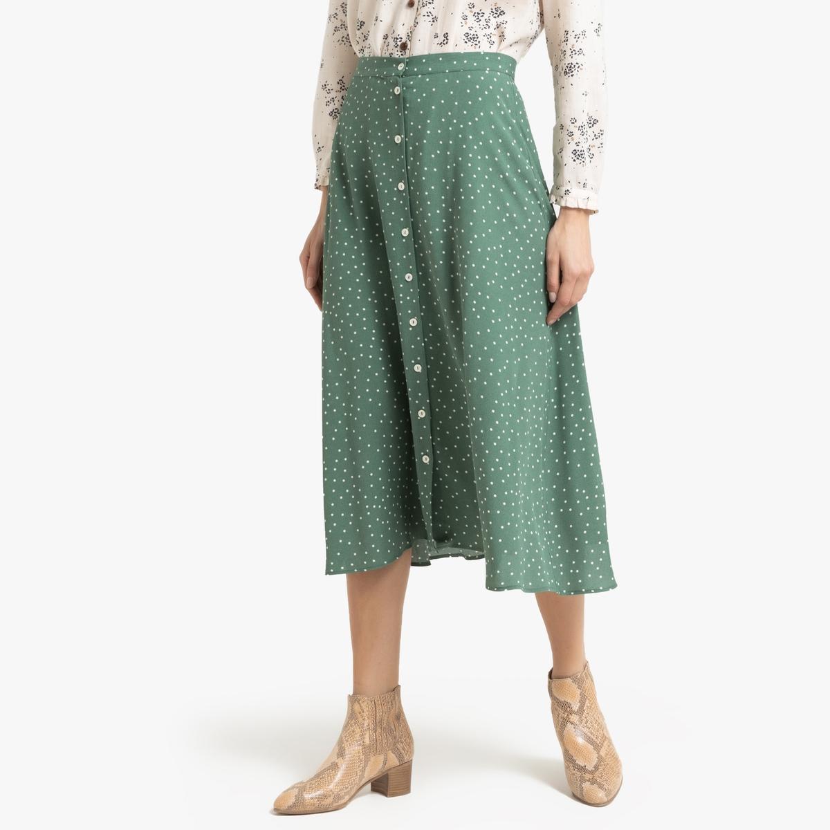 Юбка-миди La Redoute С застежкой на пуговицы и рисунком SOLIKO 2(M) зеленый пиджак с застежкой на пуговицы sartorio