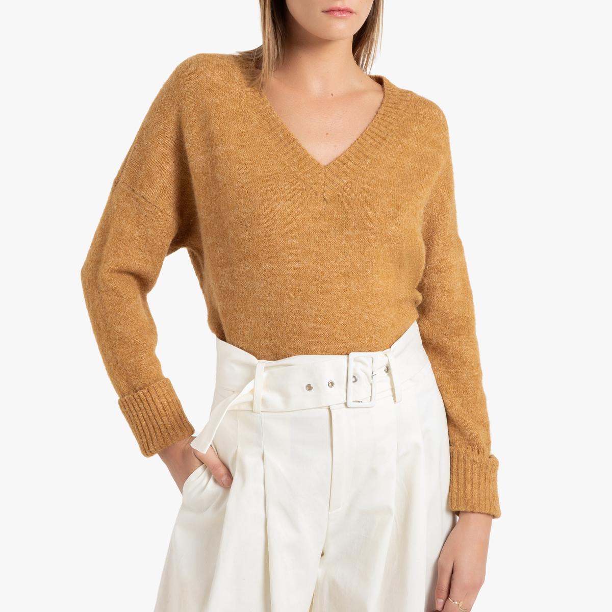 цена Пуловер La Redoute С длинными рукавами и V-образным вырезом M каштановый онлайн в 2017 году