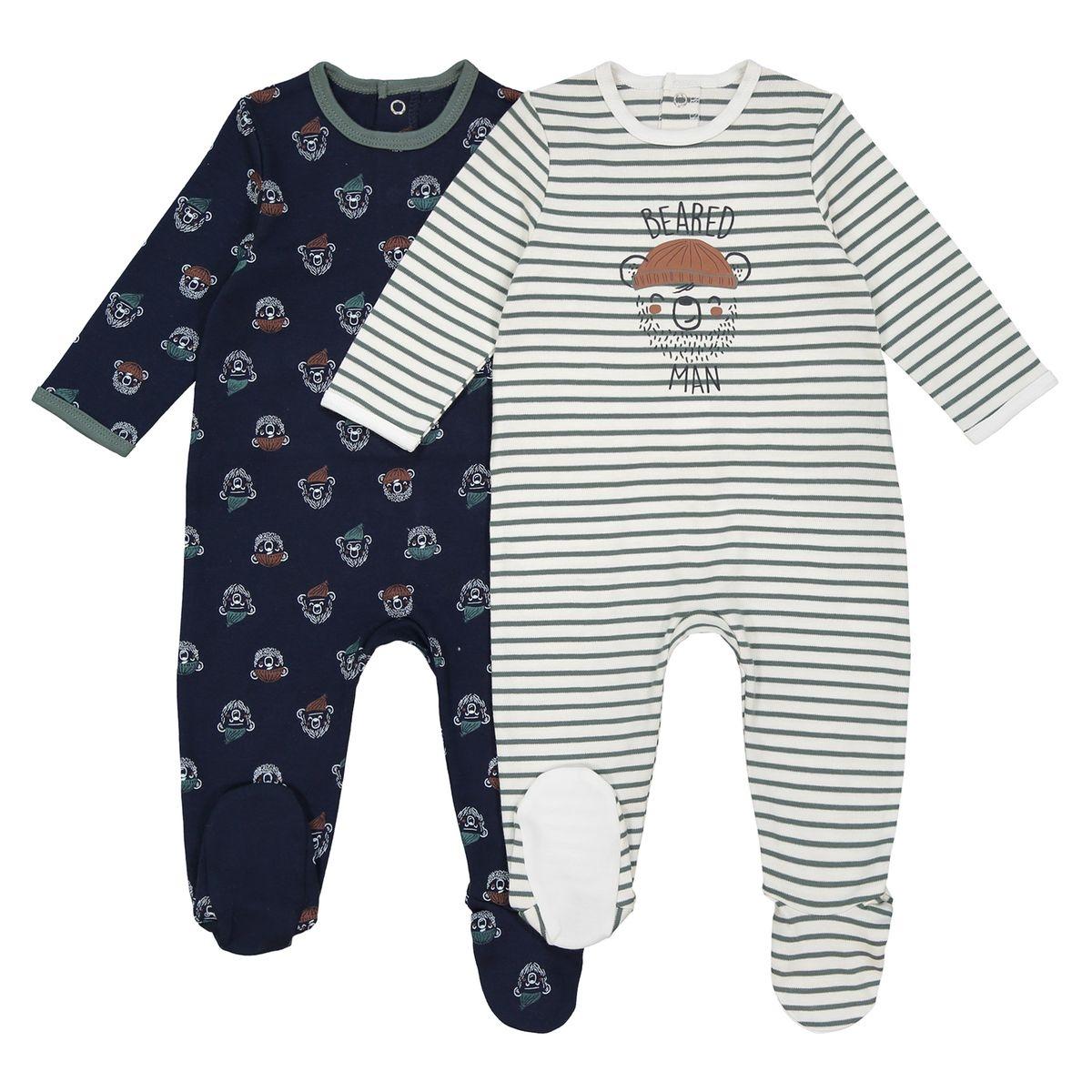 Lot de 2 pyjamas thème ours 0 mois - 3 ans