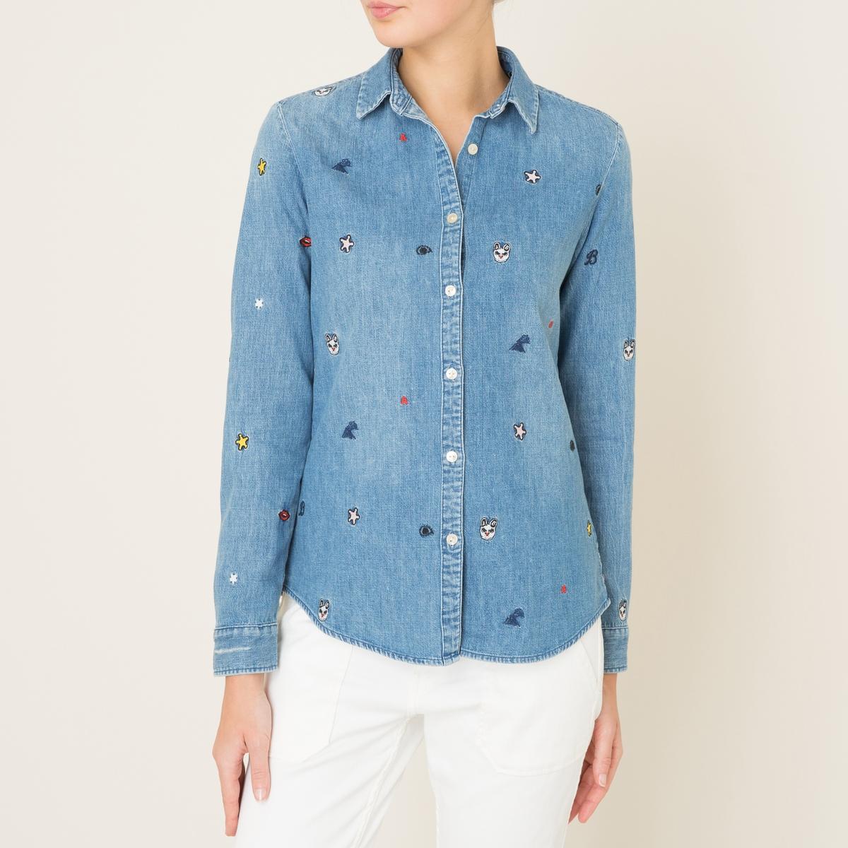 цена  Рубашка джинсовая с нашивками  онлайн в 2017 году