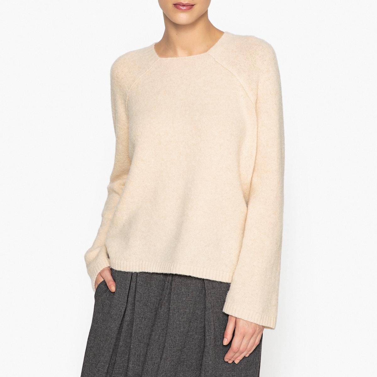 Пуловер свободный с квадратным вырезом из альпаки