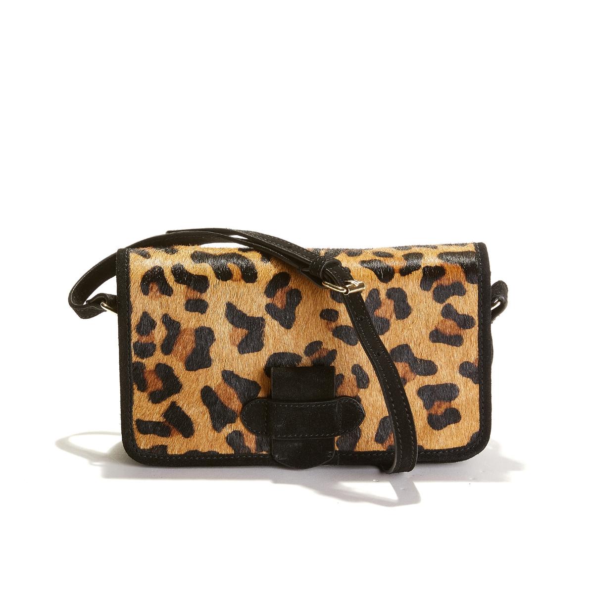 Bolso de mano con solapa y motivo estilo leopardo