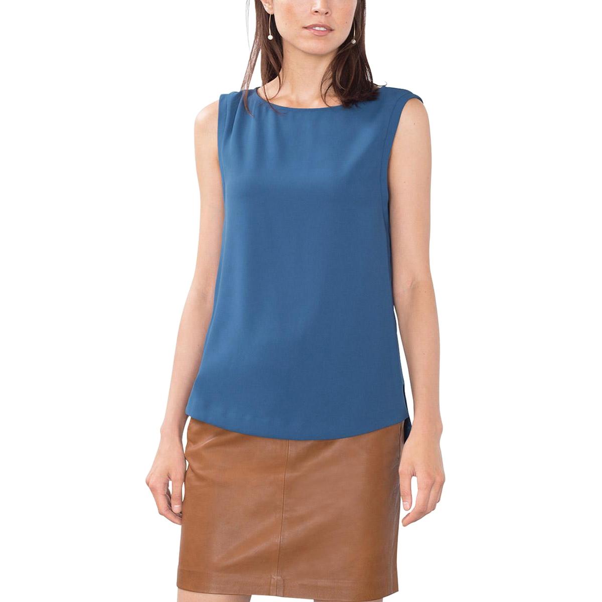 Блузка без рукавовСостав и описаниеМатериал      100% полиэстера     Марка      ESPRIT          Уход     Следуйте рекомендациям по уходу, указанным на этикетке изделия<br><br>Цвет: сине-зеленый<br>Размер: 40 (FR) - 46 (RUS)