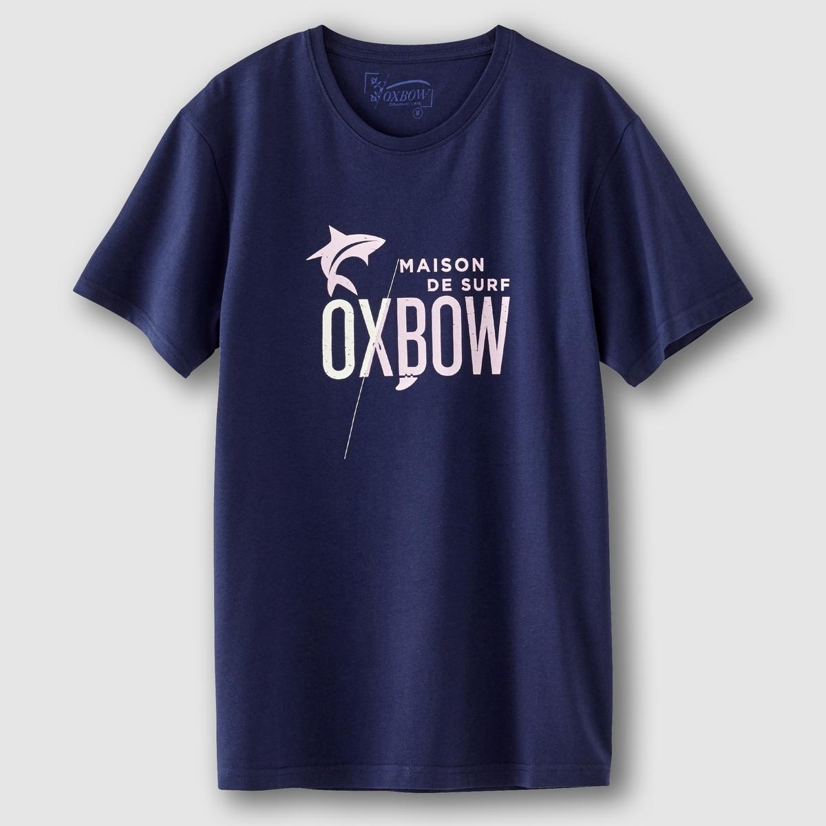 ФутболкаСостав и описаниеМатериал :  100% хлопкаМарка : OXBOW.<br><br>Цвет: темно-синий<br>Размер: S