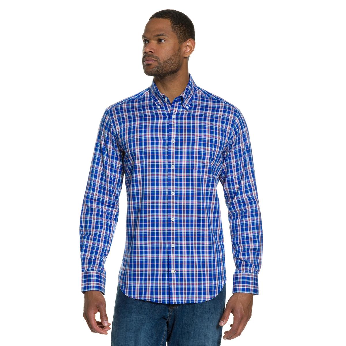 Рубашка с длинными рукавамиРубашка с длинными рукавами. 100% хлопка.. Уголки воротника на пуговицах, нагрудный карман. Облегающий покрой позволяет носить её в сочетании с брюками. Длина в зависимости от размера ок. 82-96 см.<br><br>Цвет: в клетку<br>Размер: 6XL
