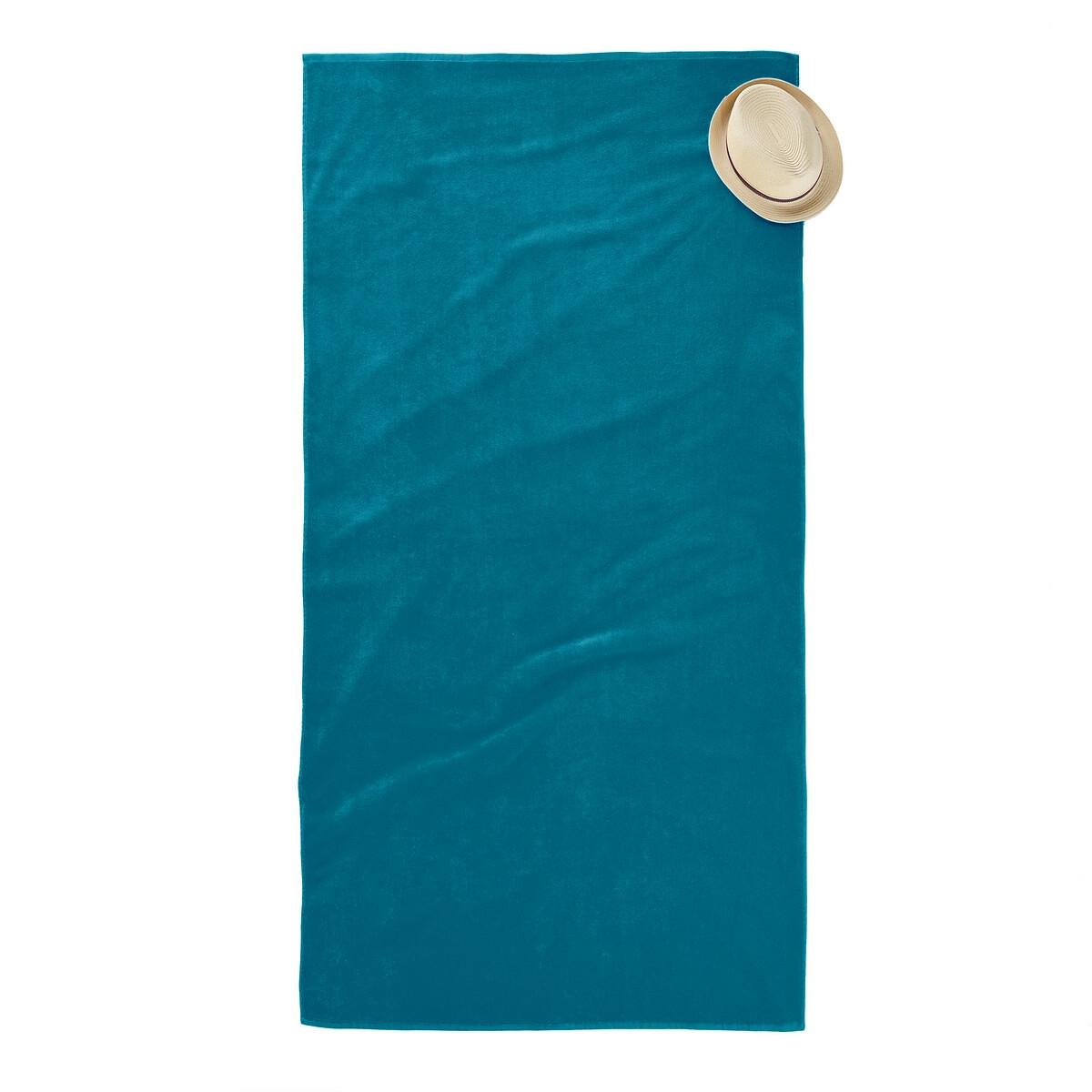 Пляжное LaRedoute Полотенце из велюра 420 гм Scenario единый размер синий 5 однотонных laredoute банных принадлежностей из махровой ткани 500 гм scenario единый размер синий