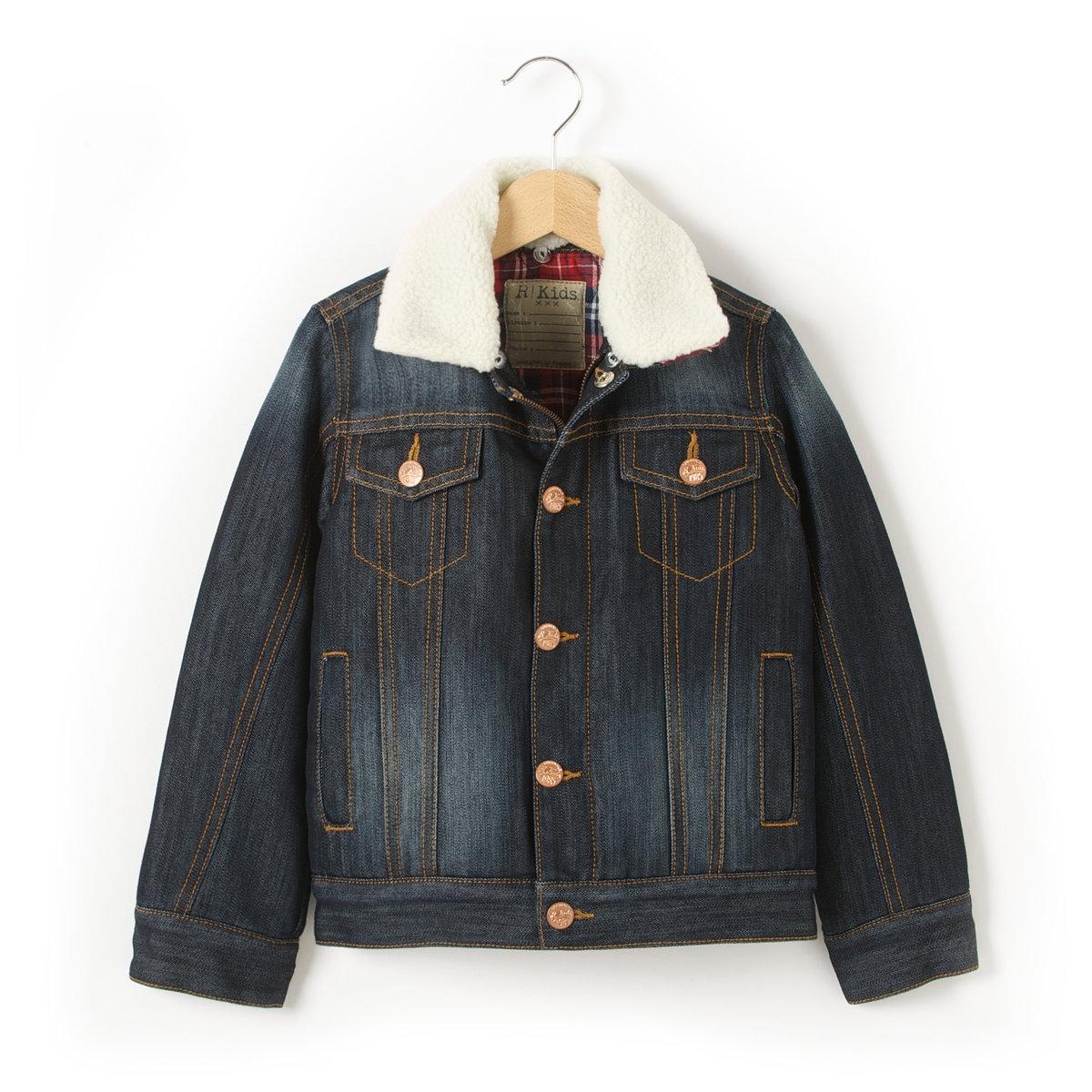 Куртка джинсовая на подкладке, 3-12 летДетали •  Демисезонная модель • Застежка на пуговицы •  Длина : укороченнаяСостав и уход •  58% хлопка, 42% полиэстера   •  Подкладка : 100% хлопок •  Температура стирки 40°   •  Сухая чистка и отбеливание запрещены •  Барабанная сушка на деликатном режиме • Средняя температура глажки.<br><br>Цвет: темно-синий<br>Размер: 3 года - 94 см.4 года - 102 см.5 лет - 108 см.8 лет - 126 см.12 лет -150 см.10 лет - 138 см.6 лет - 114 см