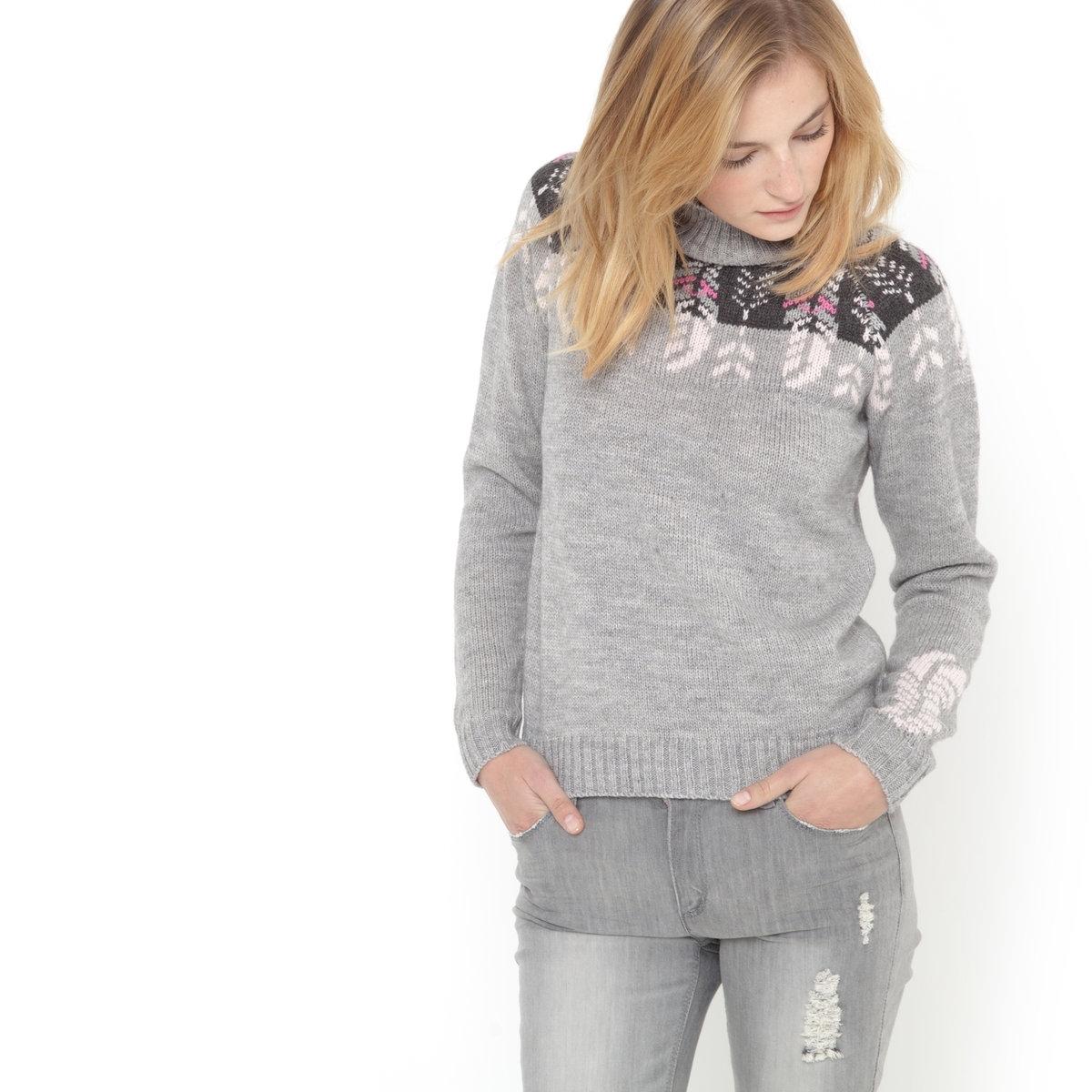 SOFT GREY Пуловер-водолазка с жаккардовым рисунком