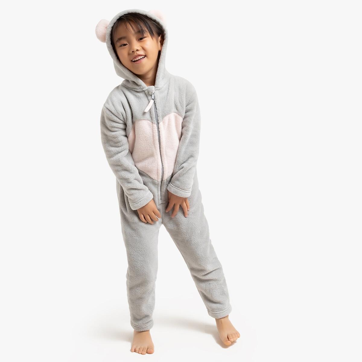 Пижама-комбинезон LaRedoute, Серый, С капюшоном мышь 3-12 лет 10 лет - 138 см серый