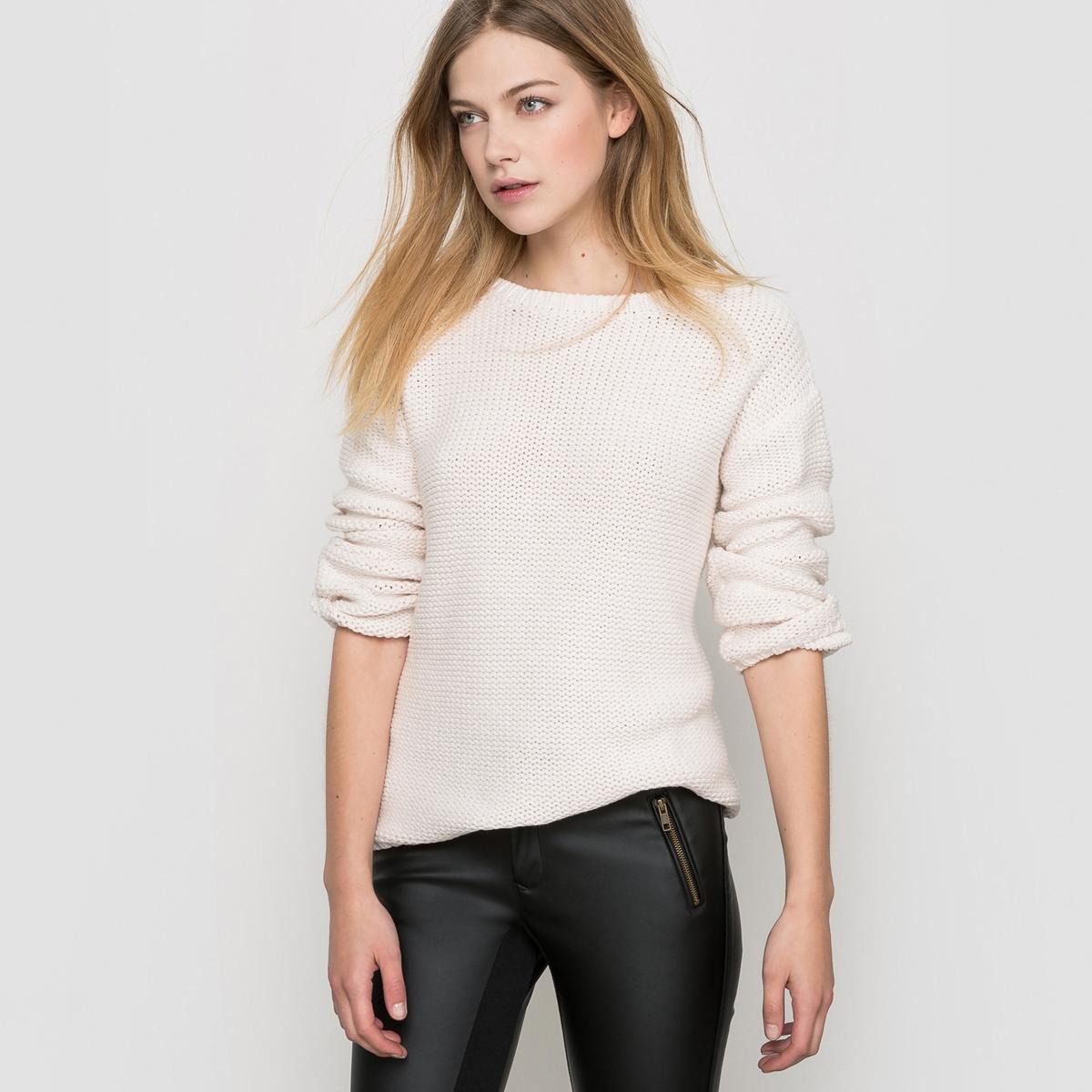 Пуловер широкого покрояПуловерЗакругленный вырезДлинные рукаваКрая связаны в рубчик Длина 63 см<br><br>Цвет: экрю<br>Размер: 46/48 (FR) - 52/54 (RUS)