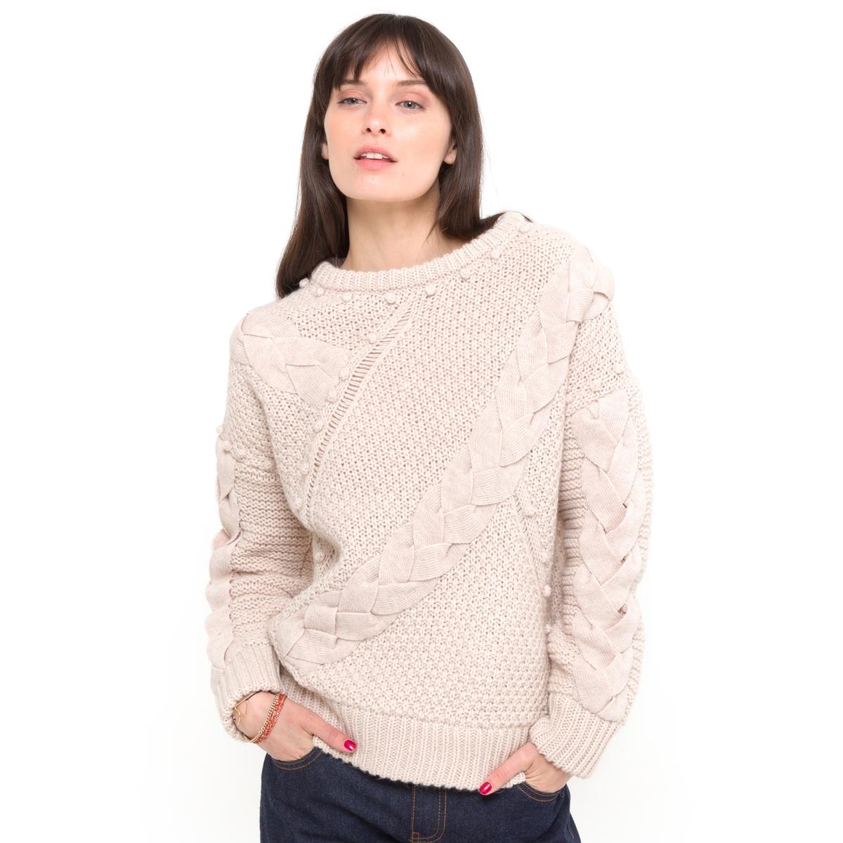 Пуловер, 15% шерстиПуловер из трикотажа, 75% акрила, 15% шерсти, 10% альпаки.   Узор косы, ажурные детали, декоративные помпоны спереди и на рукавах.   Края рукавов и низа связаны в рубчик. Длина 62 см.Женственная модель из мягкого и теплого трикотажа!<br><br>Цвет: слоновая кость<br>Размер: 42/44 (FR) - 48/50 (RUS).46/48 (FR) - 52/54 (RUS)