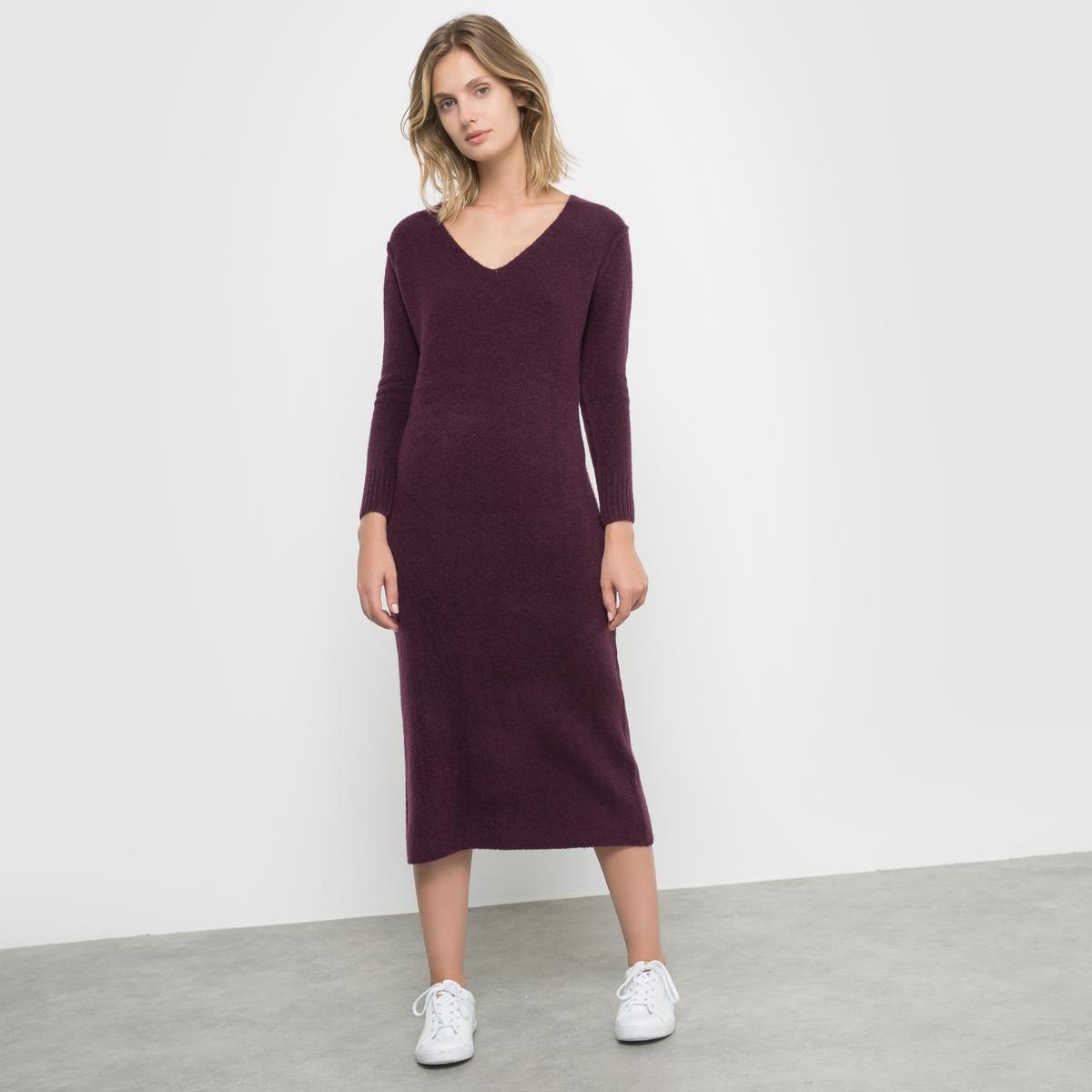 Платье длинное трикотажноеПлатье длинное из трикотажа . V-образный вырез.  Длинные рукава. Низ рукавов связан в рубчик. Состав и описание : Материал: 62% акрила, 28% полиамида, 8% шерсти, 2% эластана.Длина: 115 смМарка: R studioУход :Машинная стирка при 30°C на деликатном режиме.Машинная сушка запрещена Не отбеливатьСухая (химическая) чистка запрещена<br><br>Цвет: серый меланж,темно-фиолетовый<br>Размер: 38/40 (FR) - 44/46 (RUS)