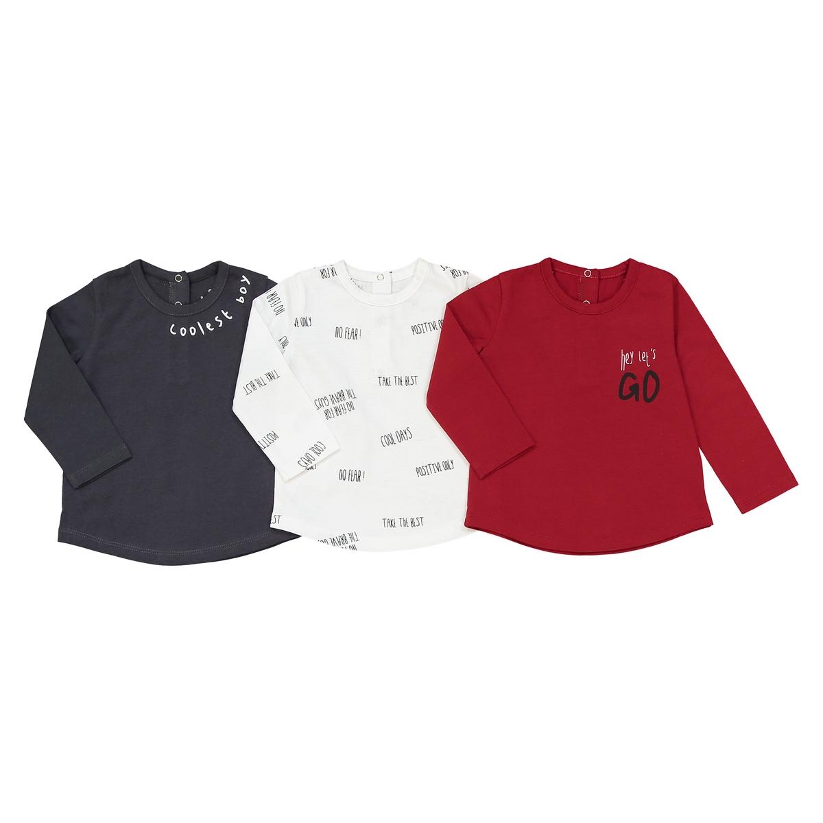 Комплект из 3 футболок с длинными рукавами, 1 мес. - 3 года комплект из 2 футболок в полоску 1 мес 3 года знак oeko tex