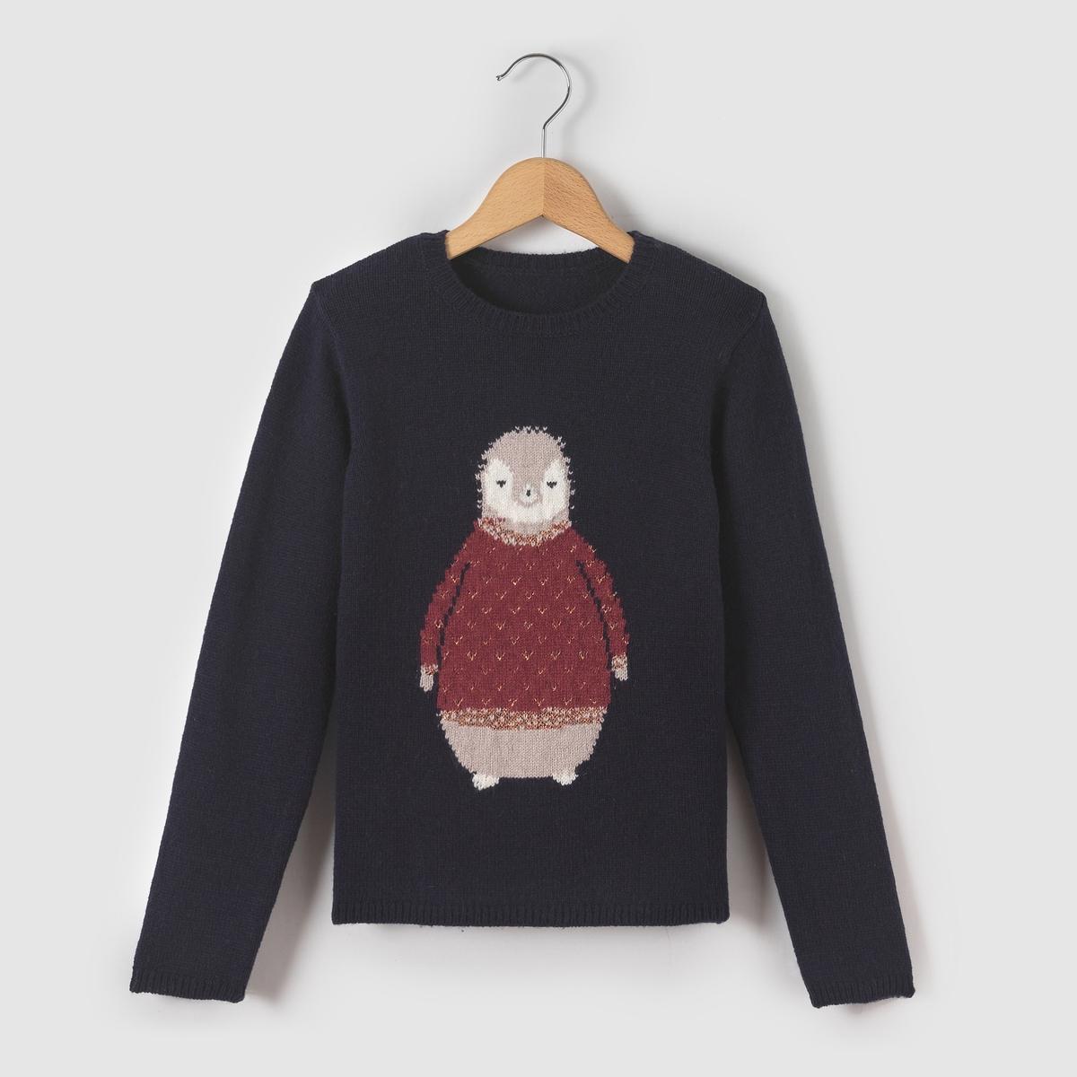 Пуловер с рисунком блестящий пингвин 3-12 лет