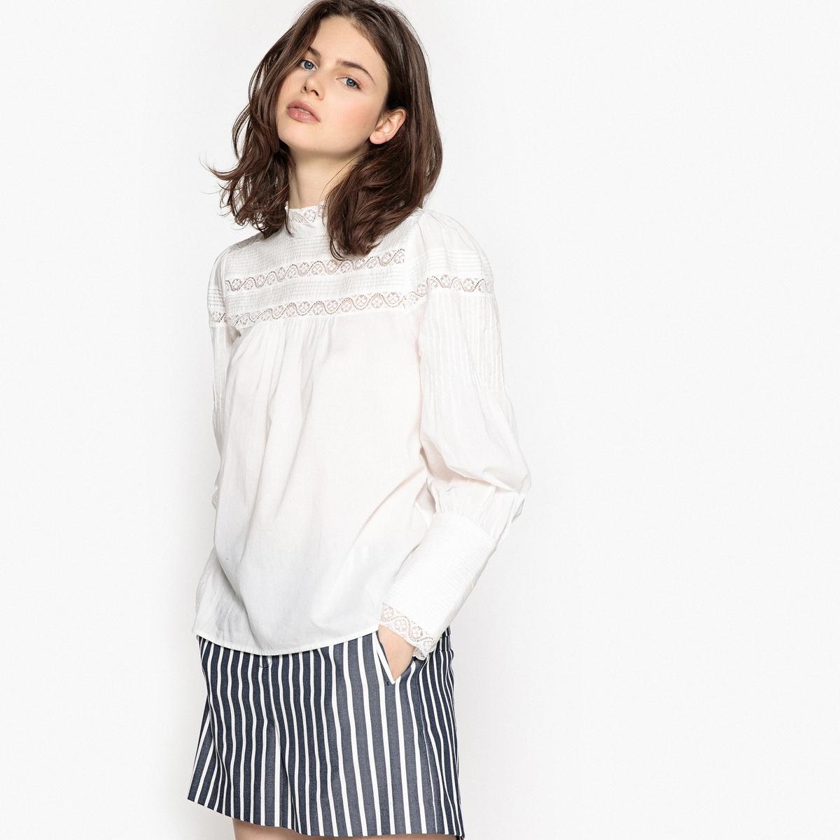 Блузка однотонная с воротником-стойкой и длинными рукавами vero moda свитер с длинными рукавами