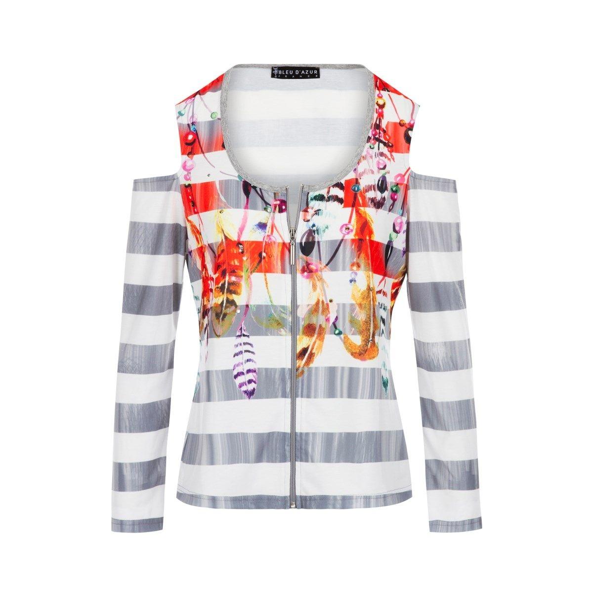 Chemise zippé femme à motif rayures et plumes Cygne