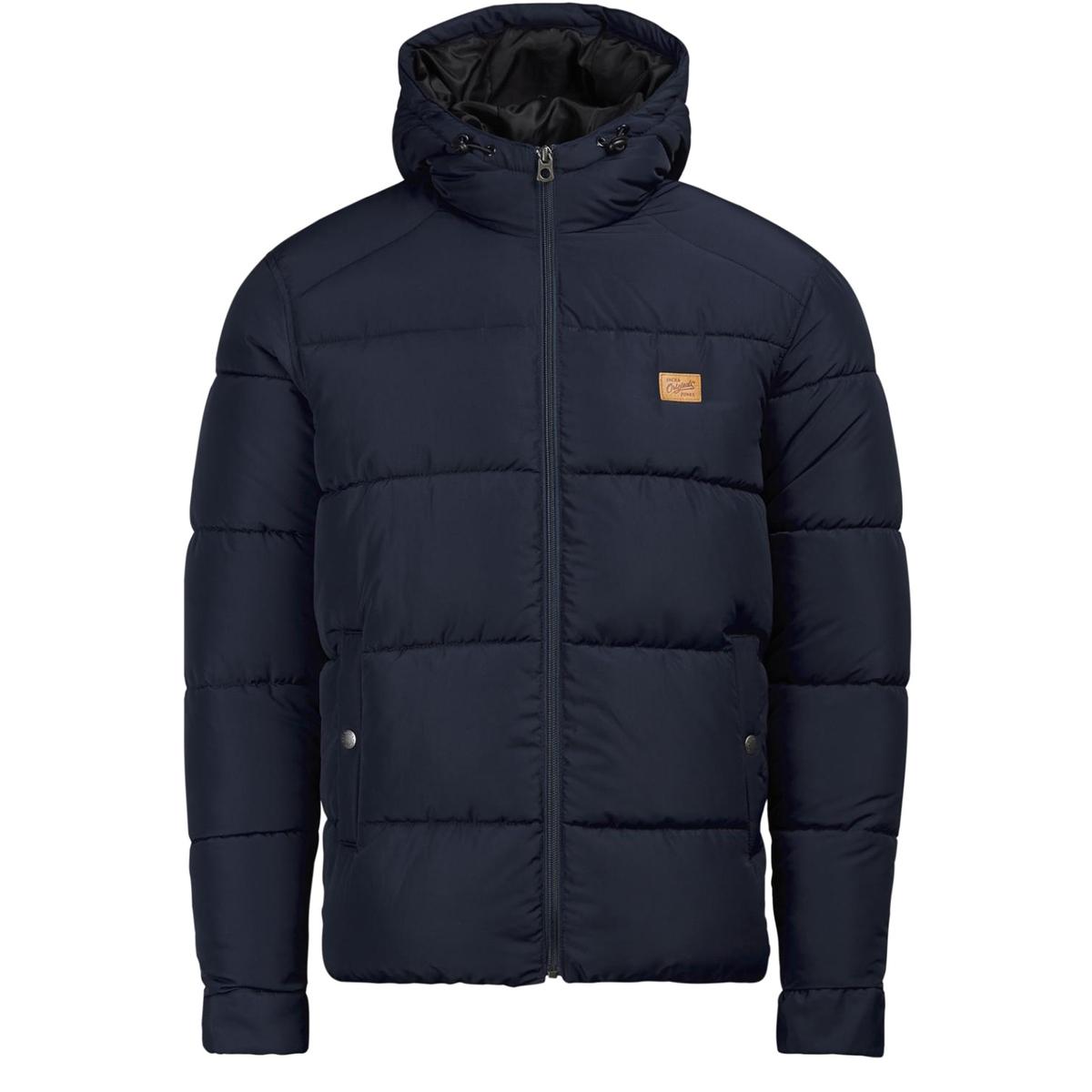 Стеганая куртка с капюшономСтеганая куртка с капюшоном JACK &amp; JONES. Прямой покрой, воротник стойка с капюшоном. Карманы по бокам. Вставки на плечах. Эластичный низ. Состав и описаниеМатериал: 100% полиэстерМарка: JACK &amp; JONES<br><br>Цвет: темно-синий<br>Размер: L