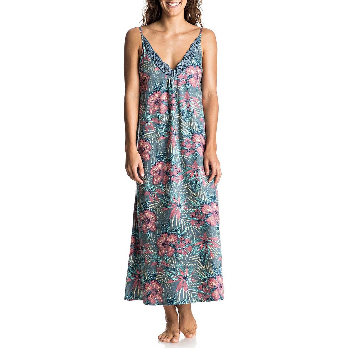 Платье длинное на тонких бретелях с цветочным рисунком