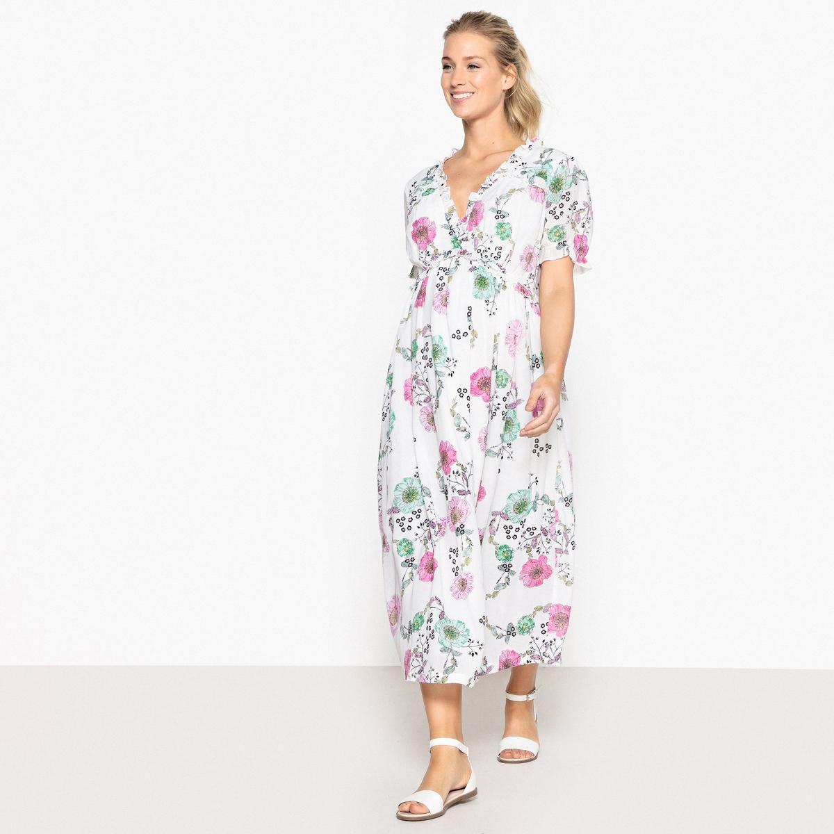 Платье для периода беременности длинное с цветочным рисунком